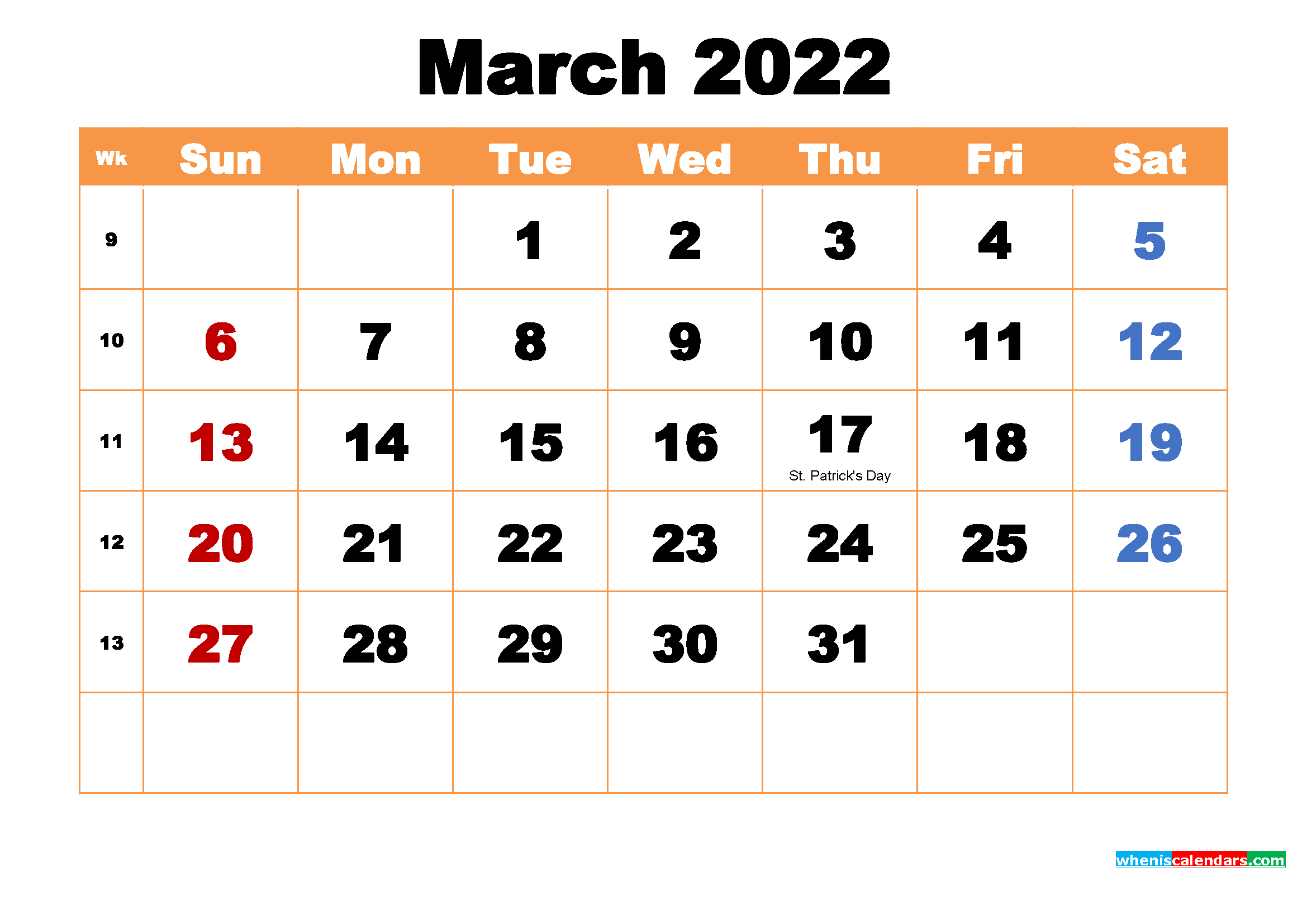 March 2022 Printable Monthly Calendar with Holidays