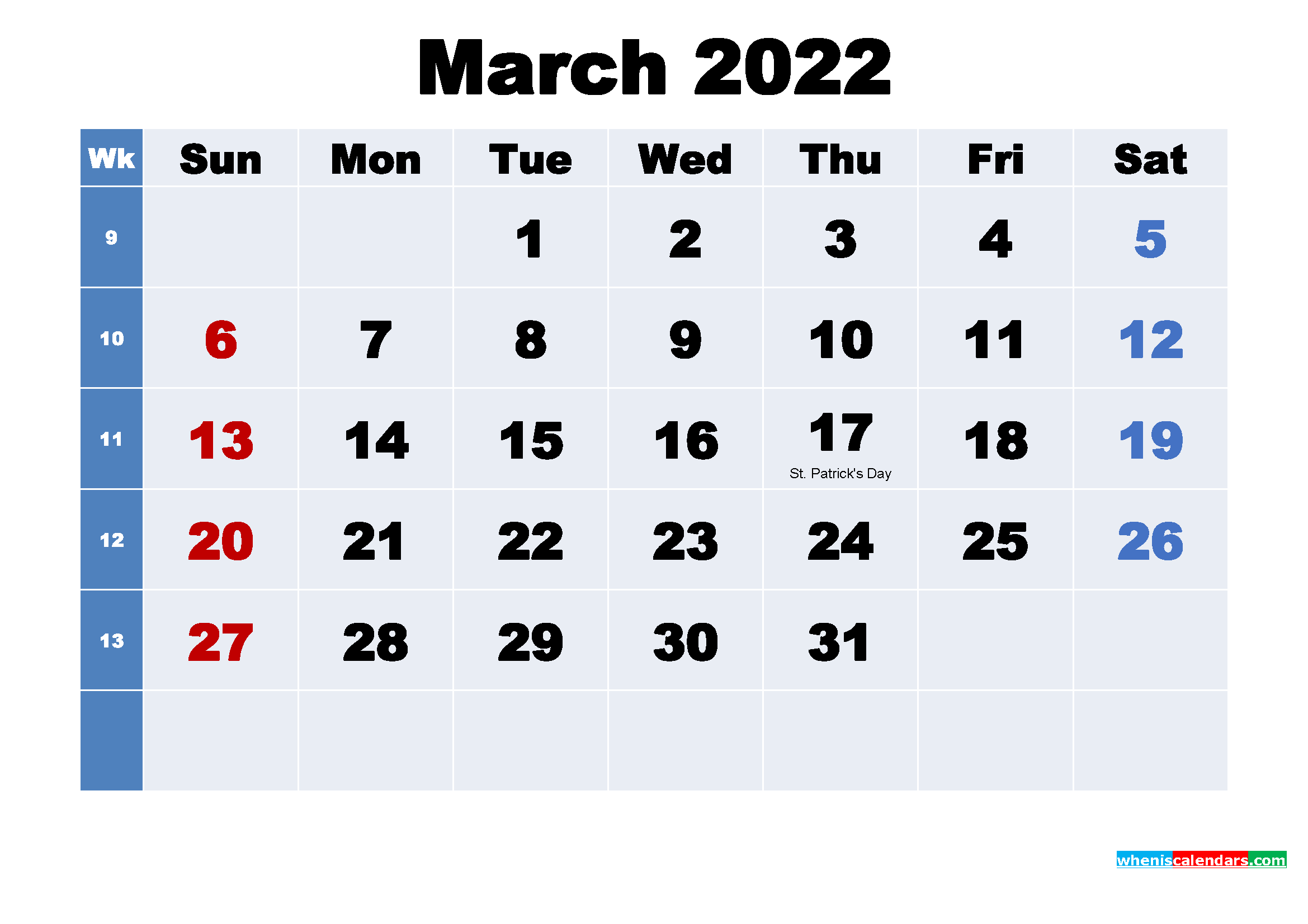 Free 2022 Printable Calendar March as Word, PDF