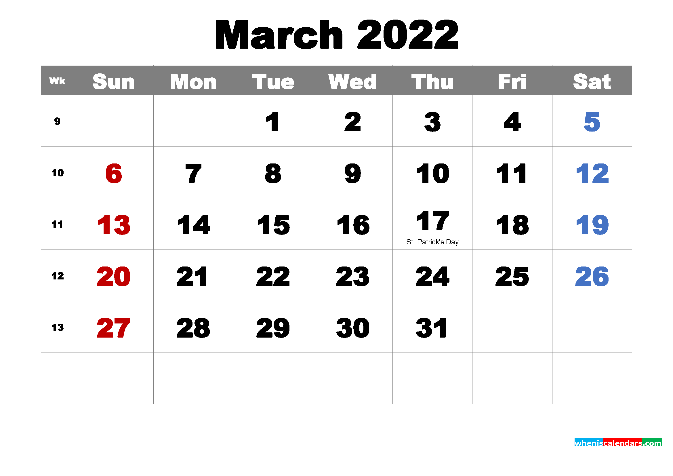 Free Printable March 2022 Calendar with Holidays as Word, PDF