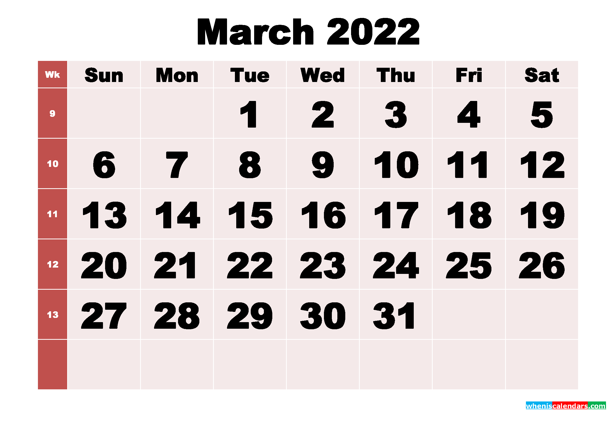Free Printable Monthly Calendar March 2022