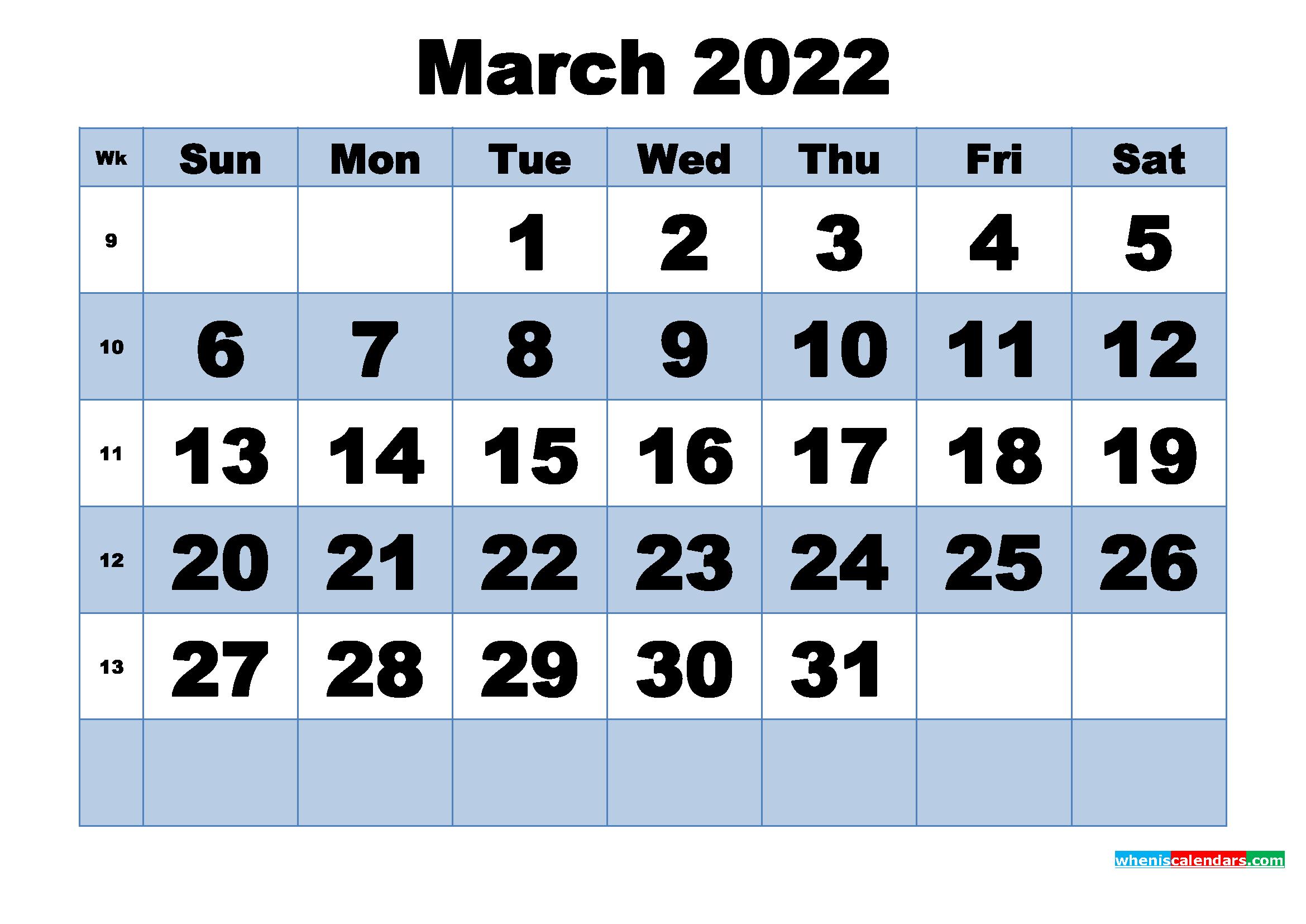 Free Printable March 2022 Calendar with Week Numbers