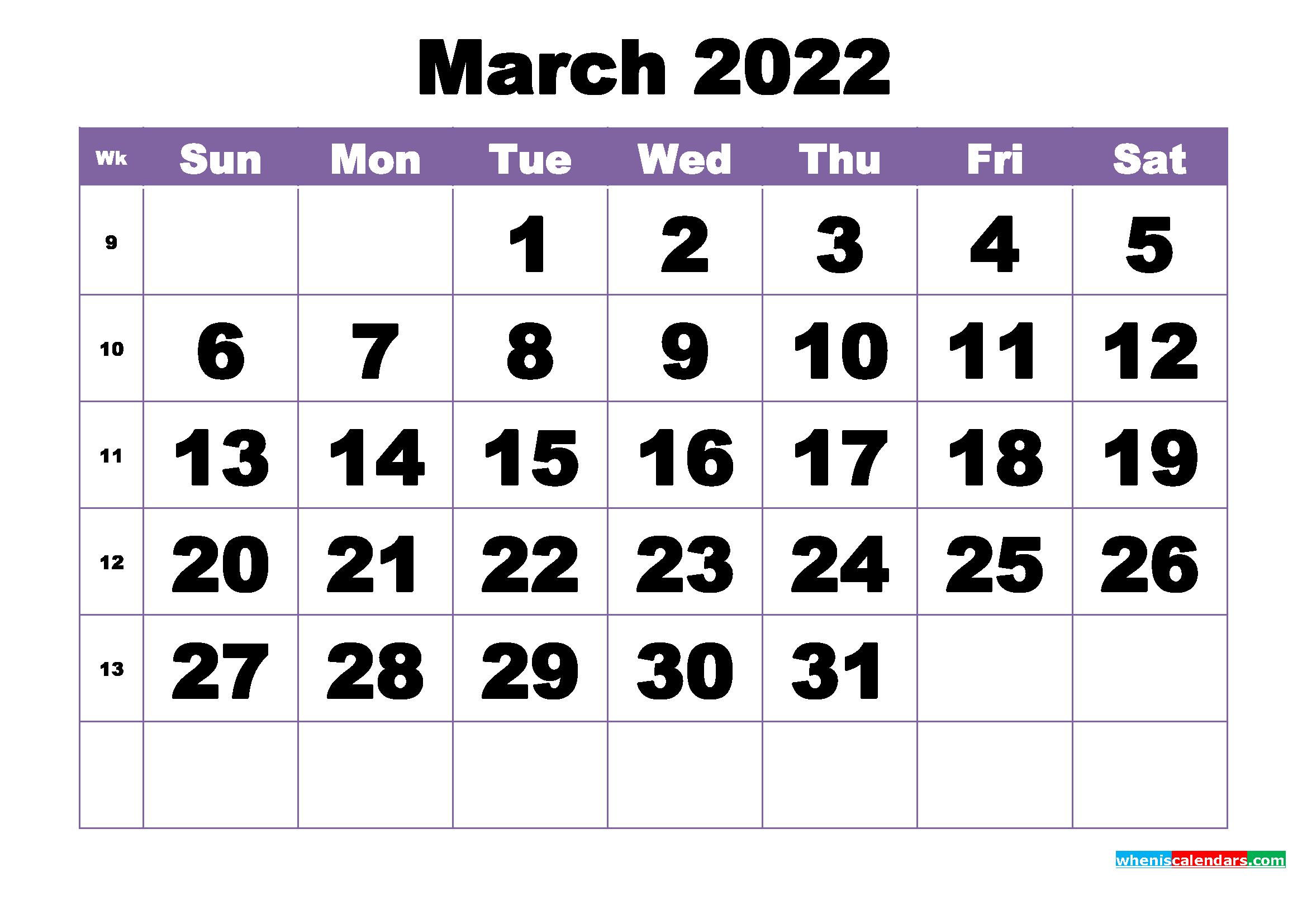 March 2022 Printable Calendar Template - Free Printable ...