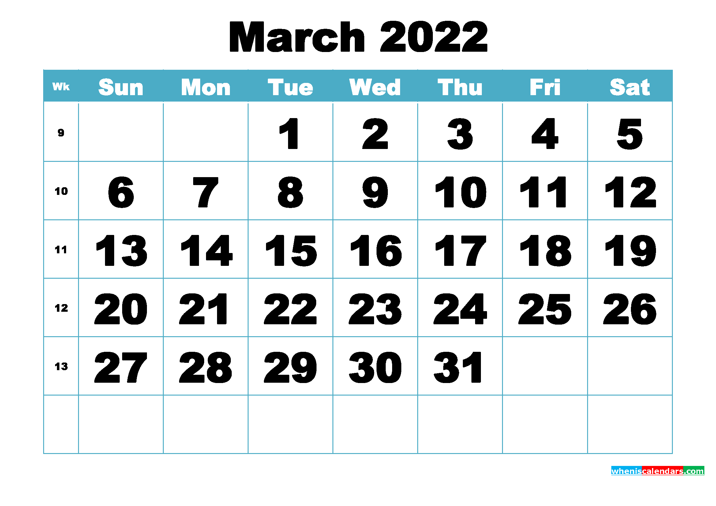 Free March 2022 Printable Monthly Calendar Template