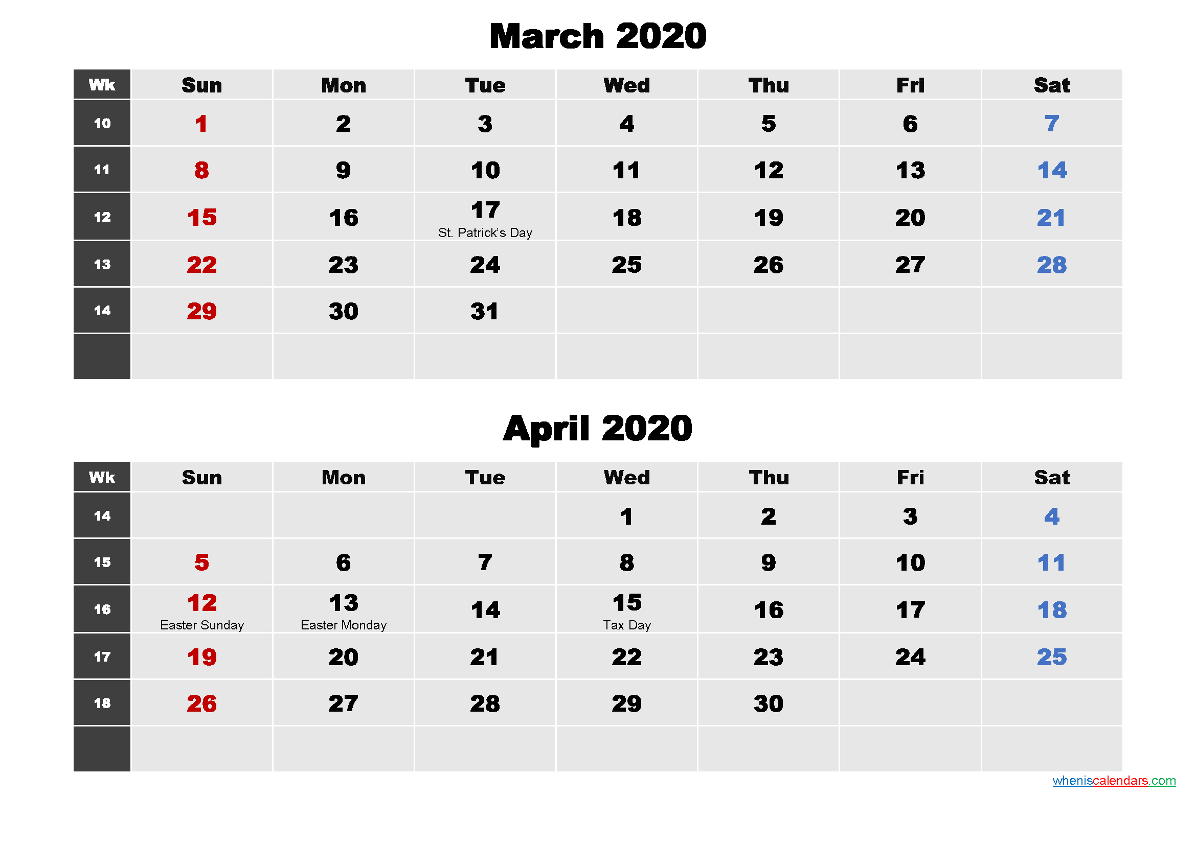 March and April 2020 Calendar with Holidays