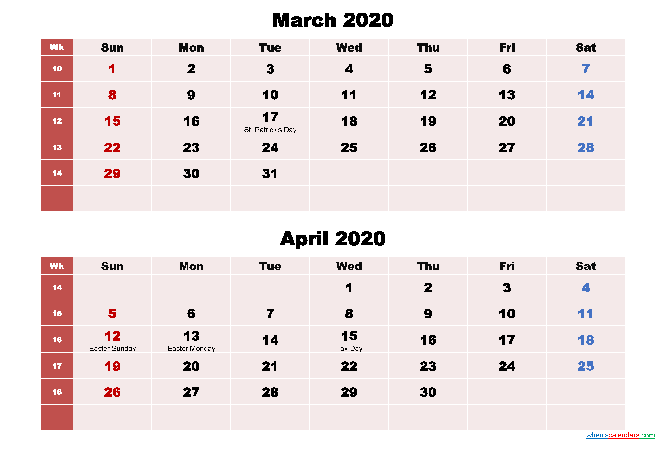 Printable Calendar March and April 2020 Word, PDF