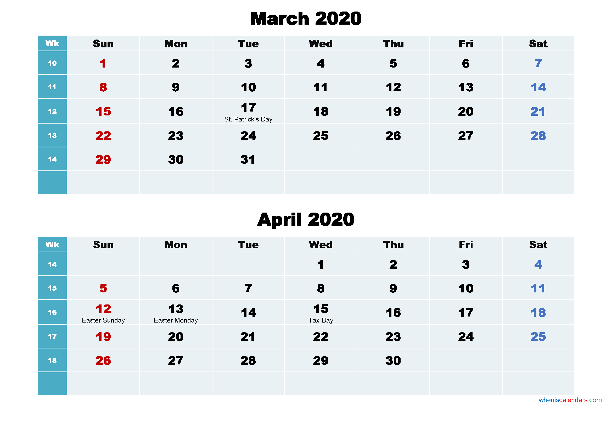 Calendar for March and April 2020 Word, PDF