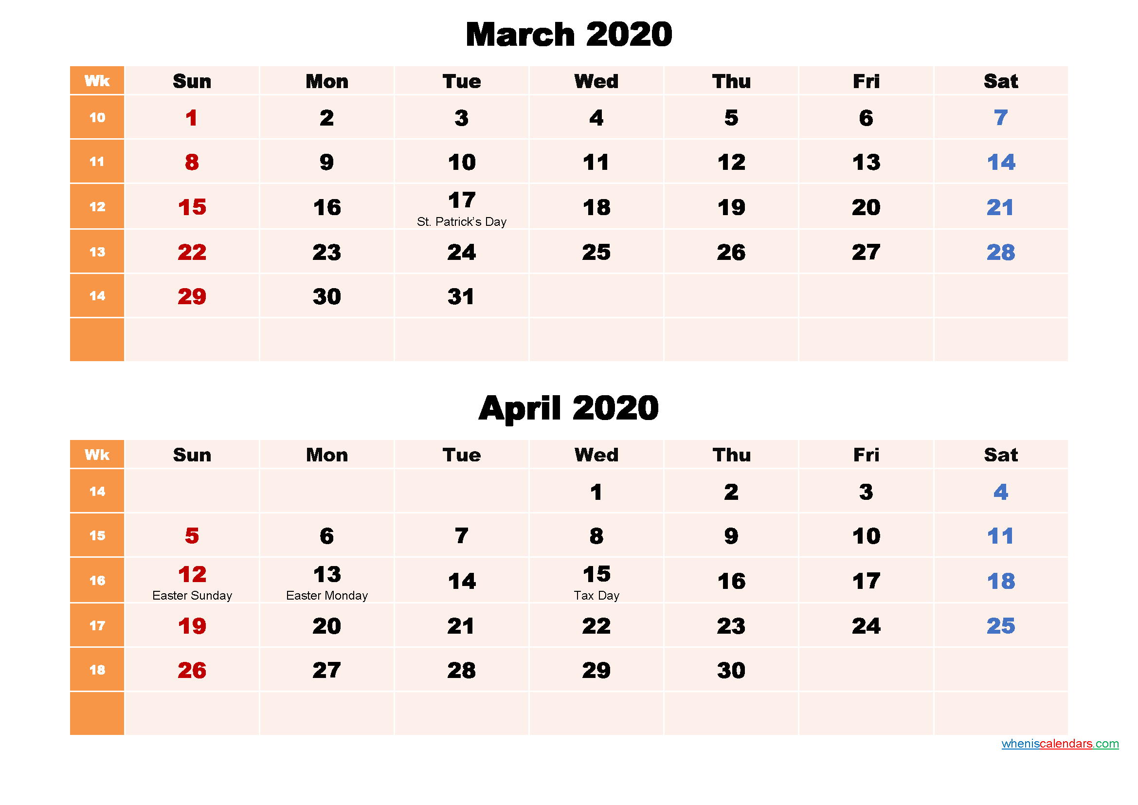 Printable Calendar March and April 2020 Word, PDF