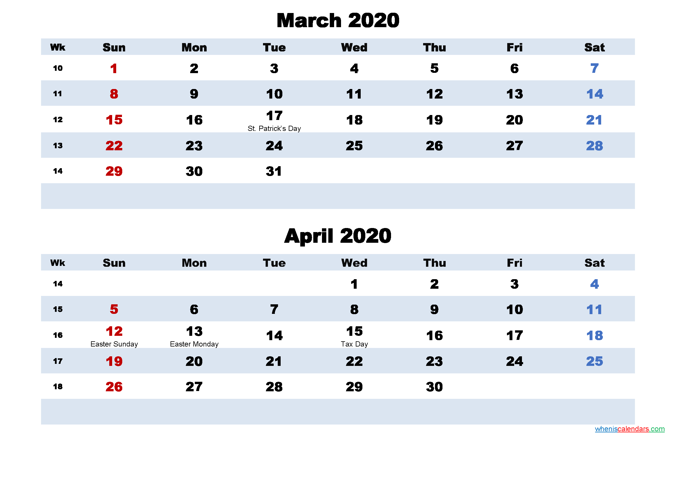 March and April Calendar 2020 Printable Word, PDF