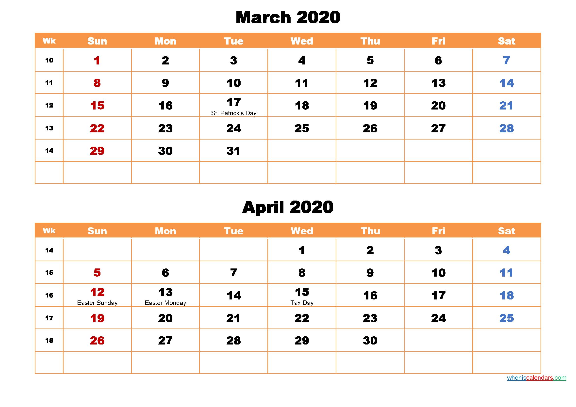 March and April Calendar 2020 Printable Word, PDF