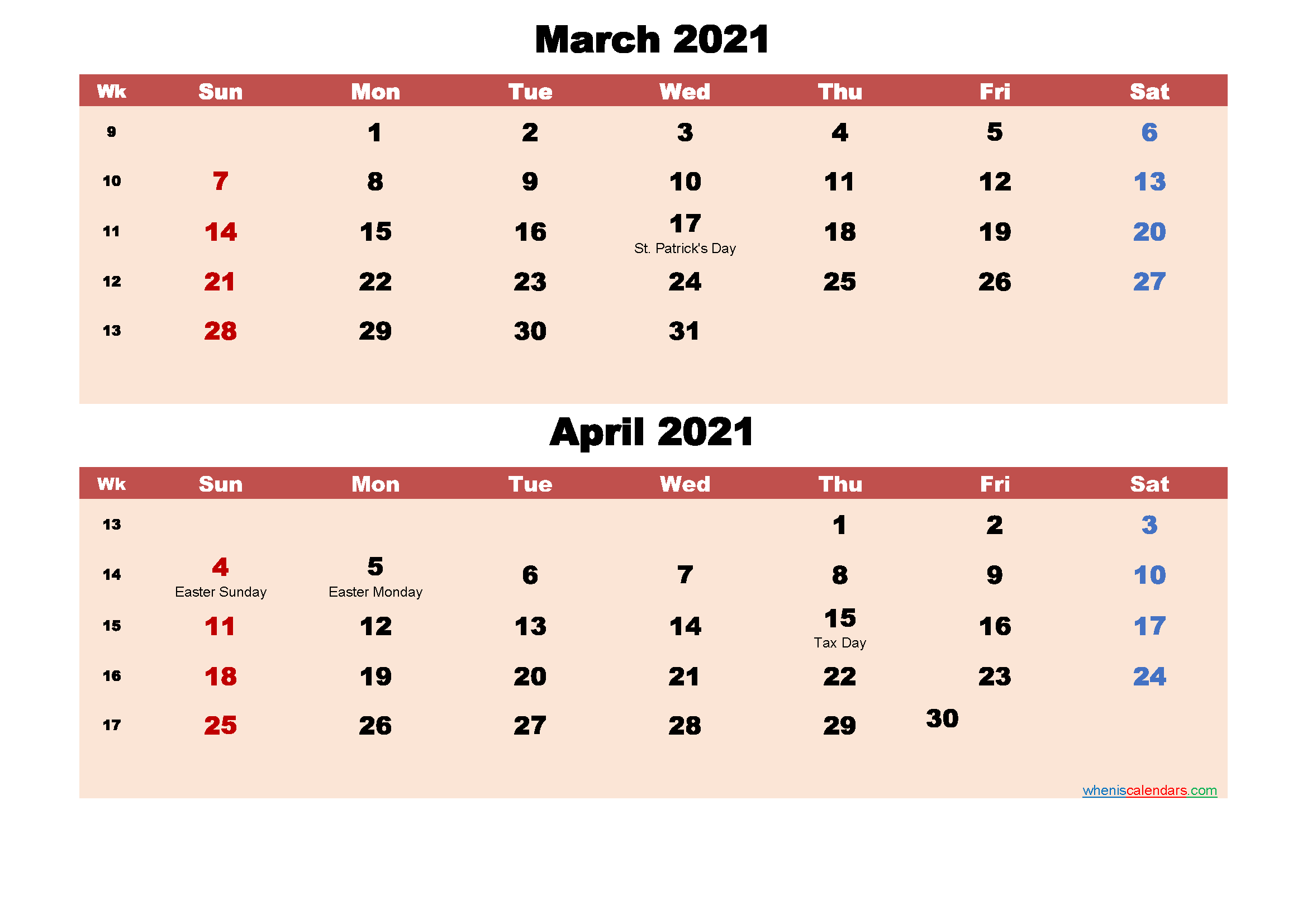 March and April Calendar 2021 Printable Word, PDF