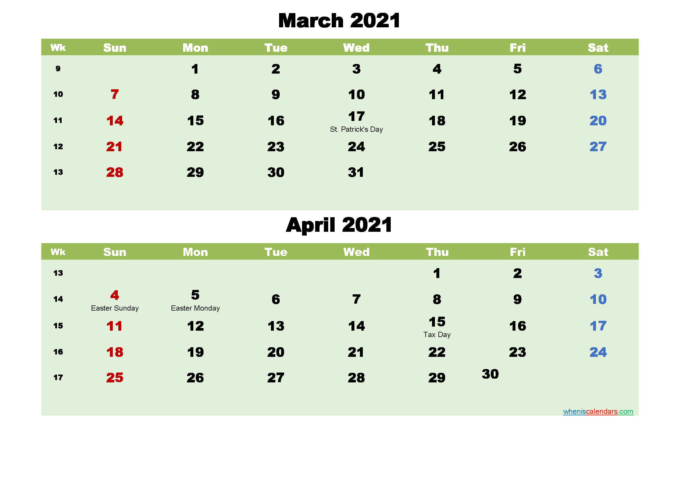 March and April 2021 Calendar with Holidays