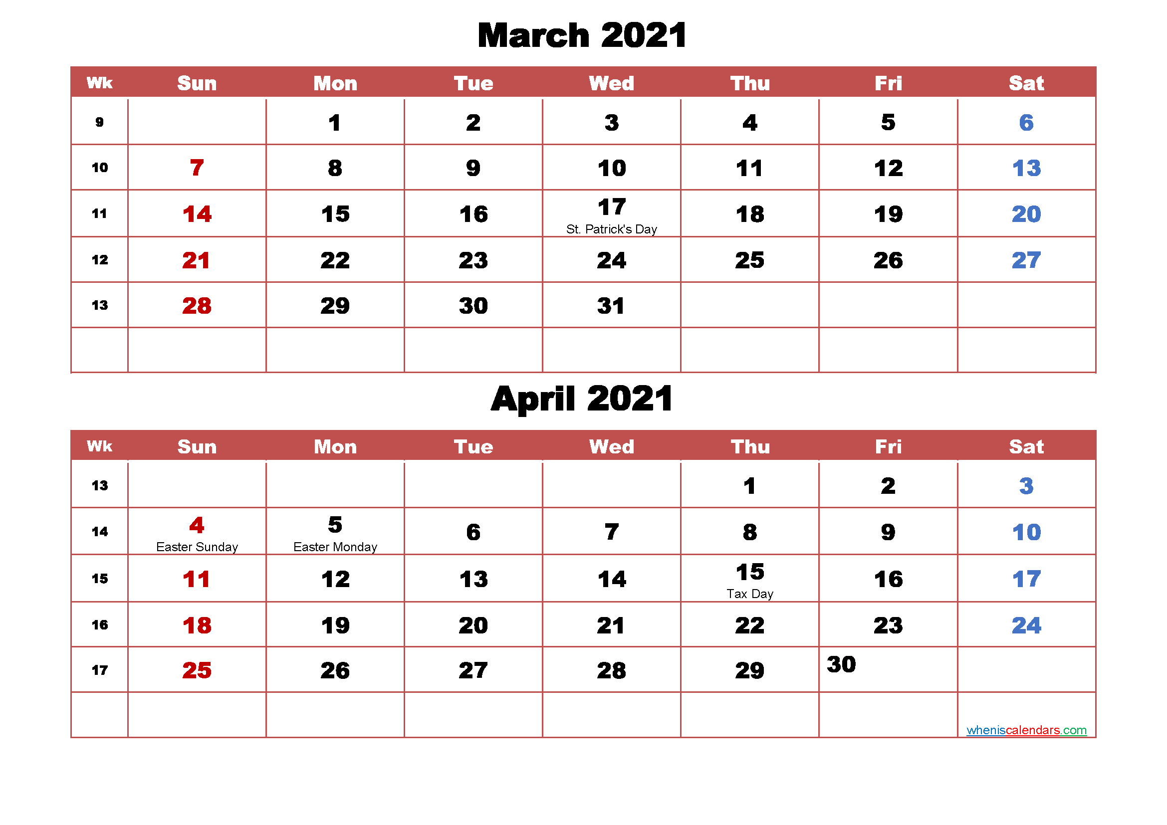 March and April Calendar 2021 Printable Word, PDF
