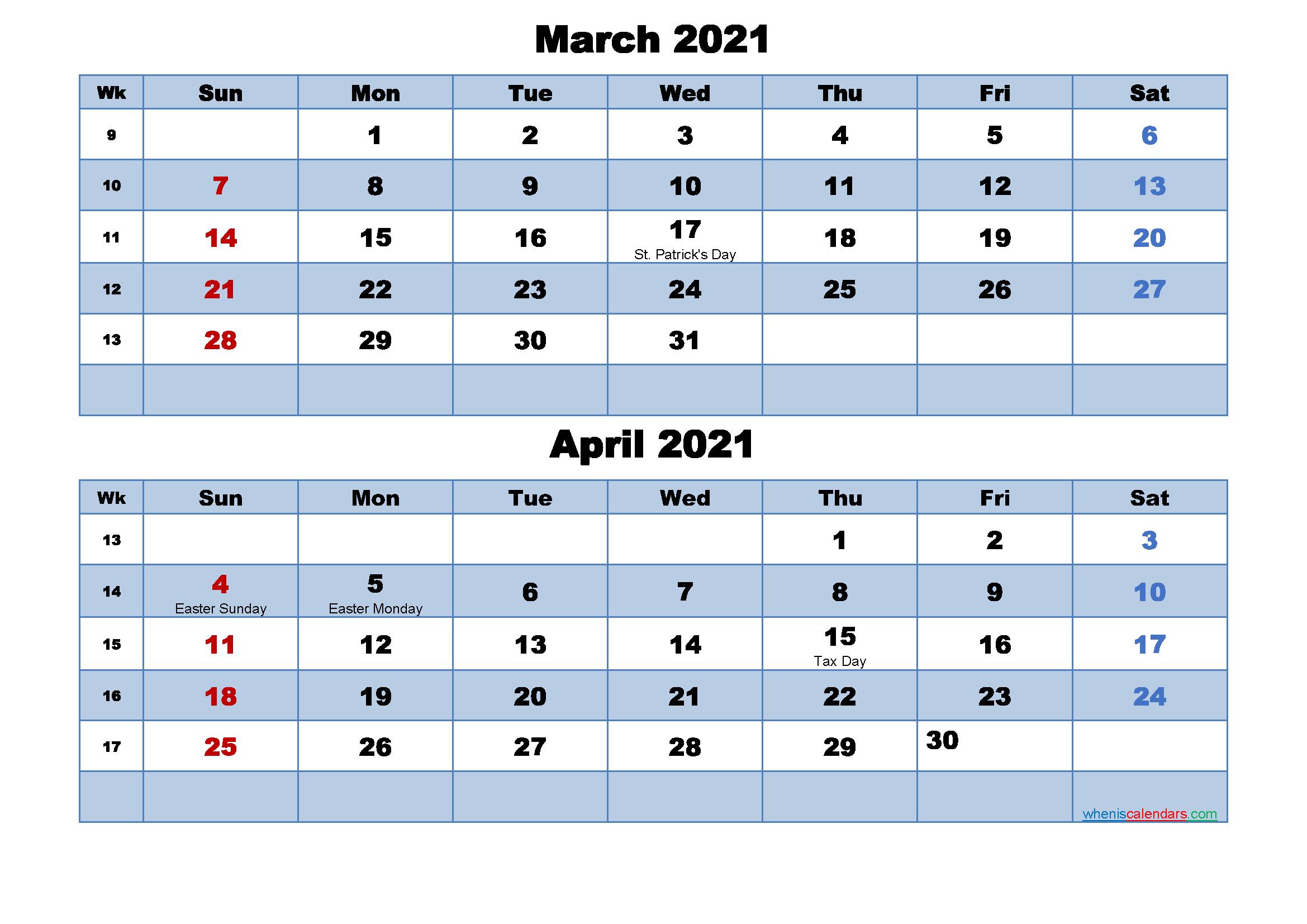 Printable Calendar March and April 2021 Word, PDF