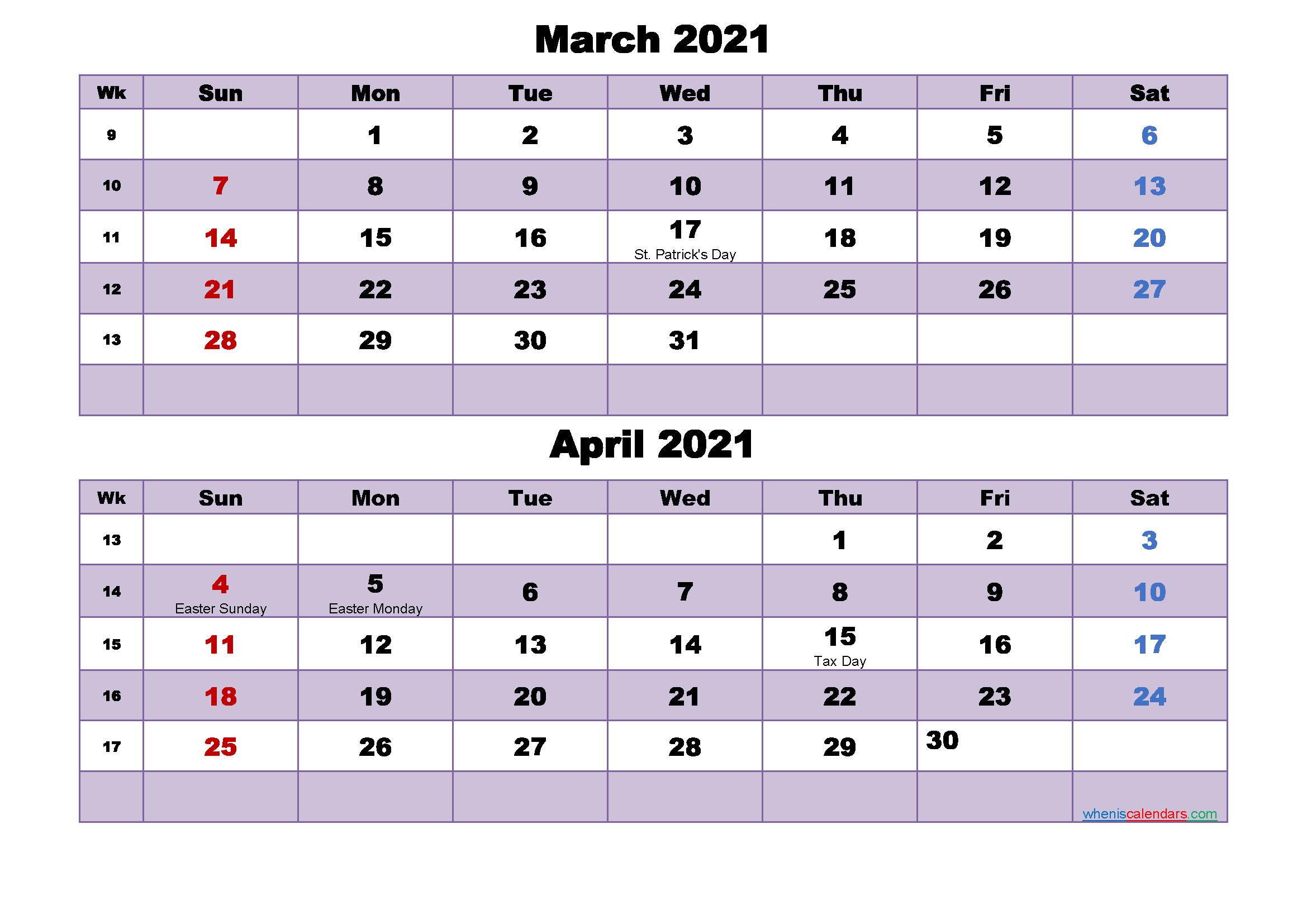 Calendar for March and April 2021 Word, PDF