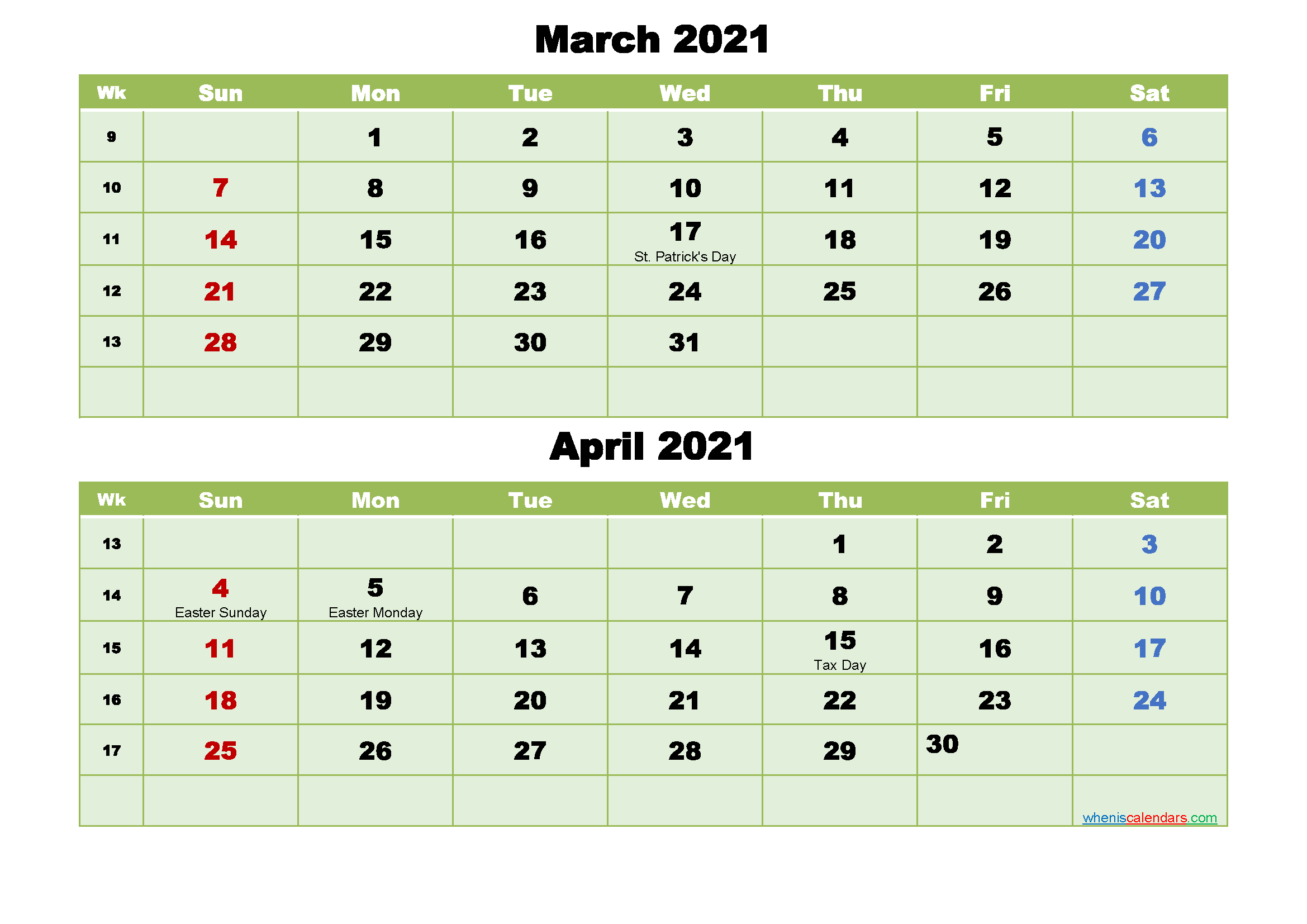Printable Calendar March and April 2021 Word, PDF