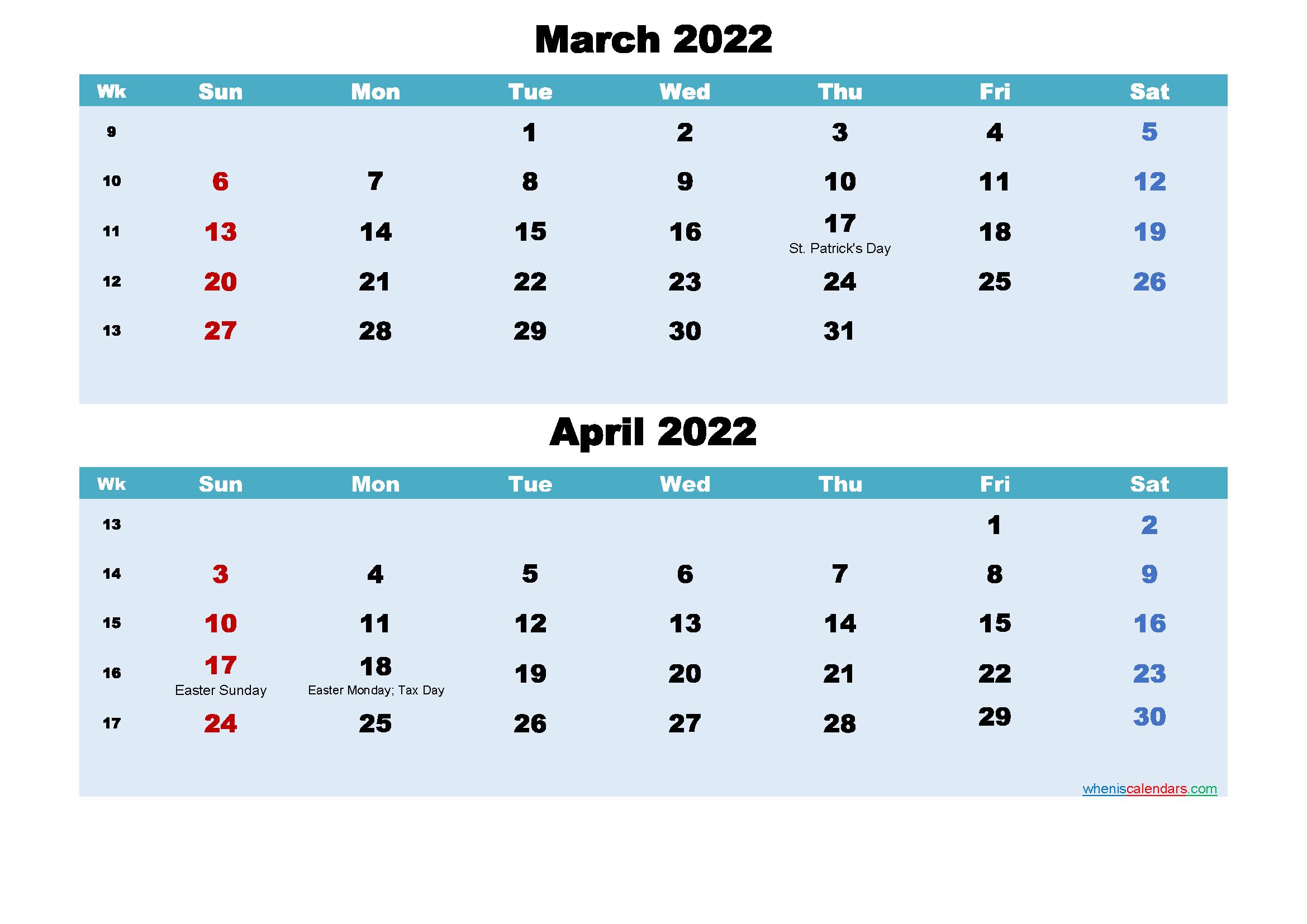 Printable Calendar March and April 2022 Word, PDF