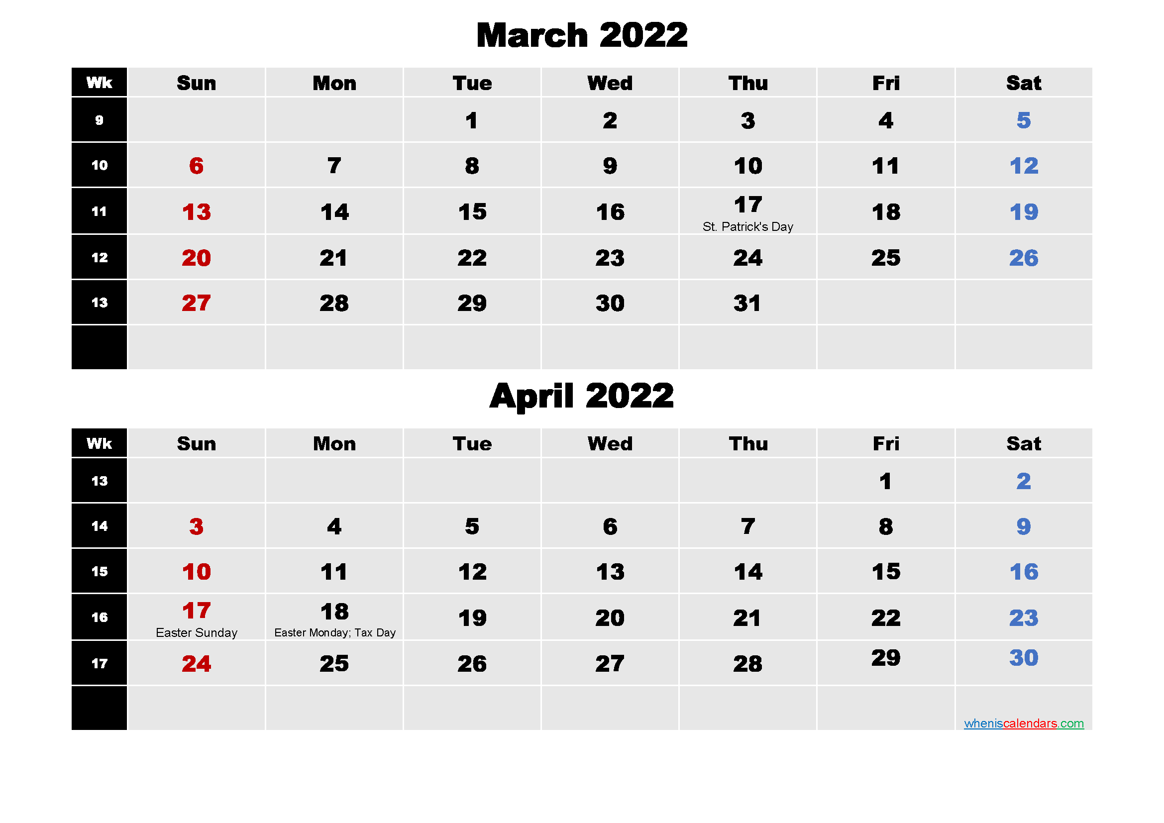 March and April 2022 Calendar with Holidays