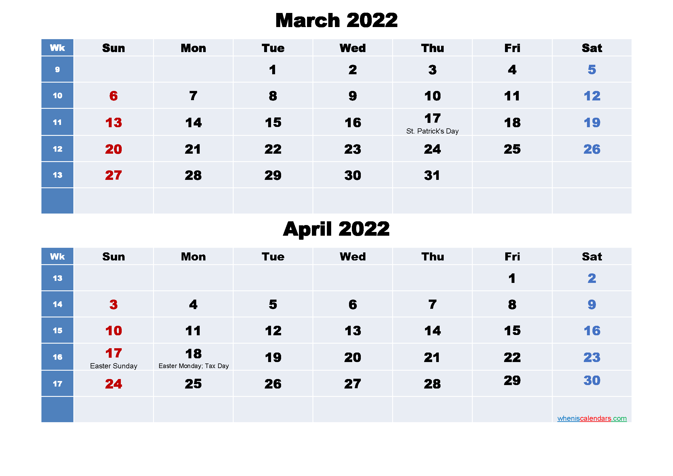 Calendar for March and April 2022 Word, PDF