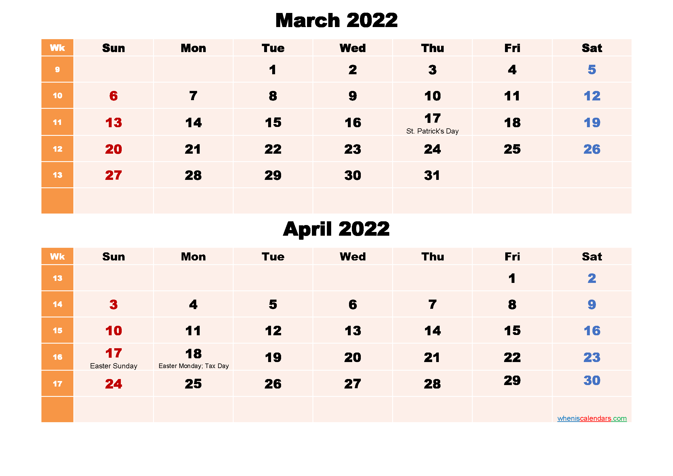 Printable Calendar March and April 2022 Word, PDF
