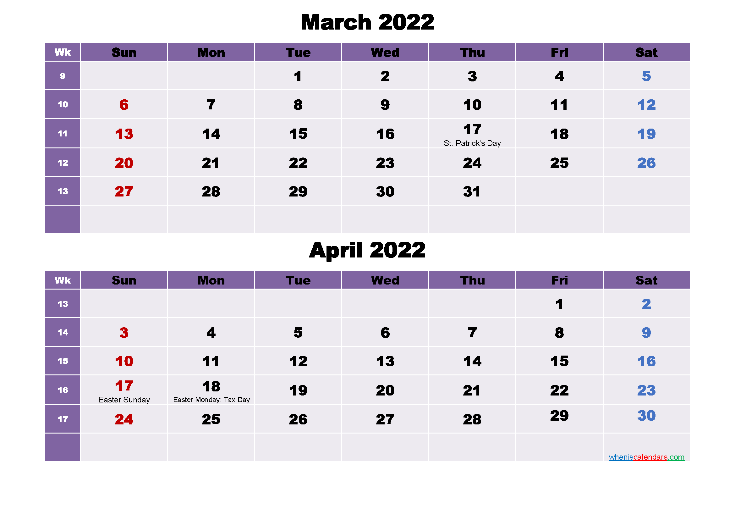 March and April Calendar 2022 Printable Word, PDF