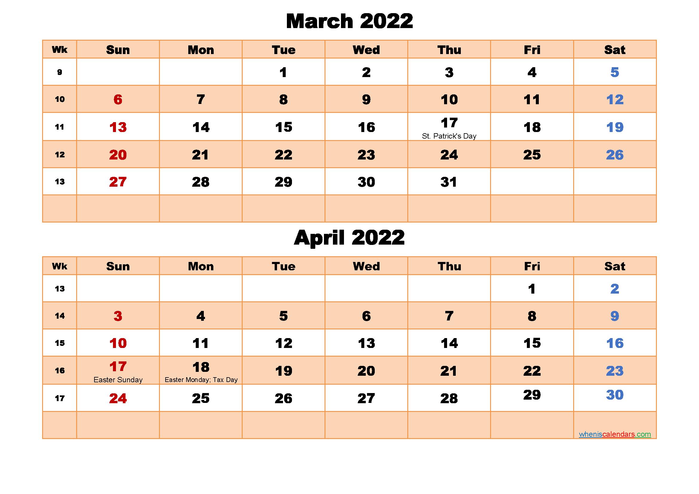March and April Calendar 2022 Printable Word, PDF