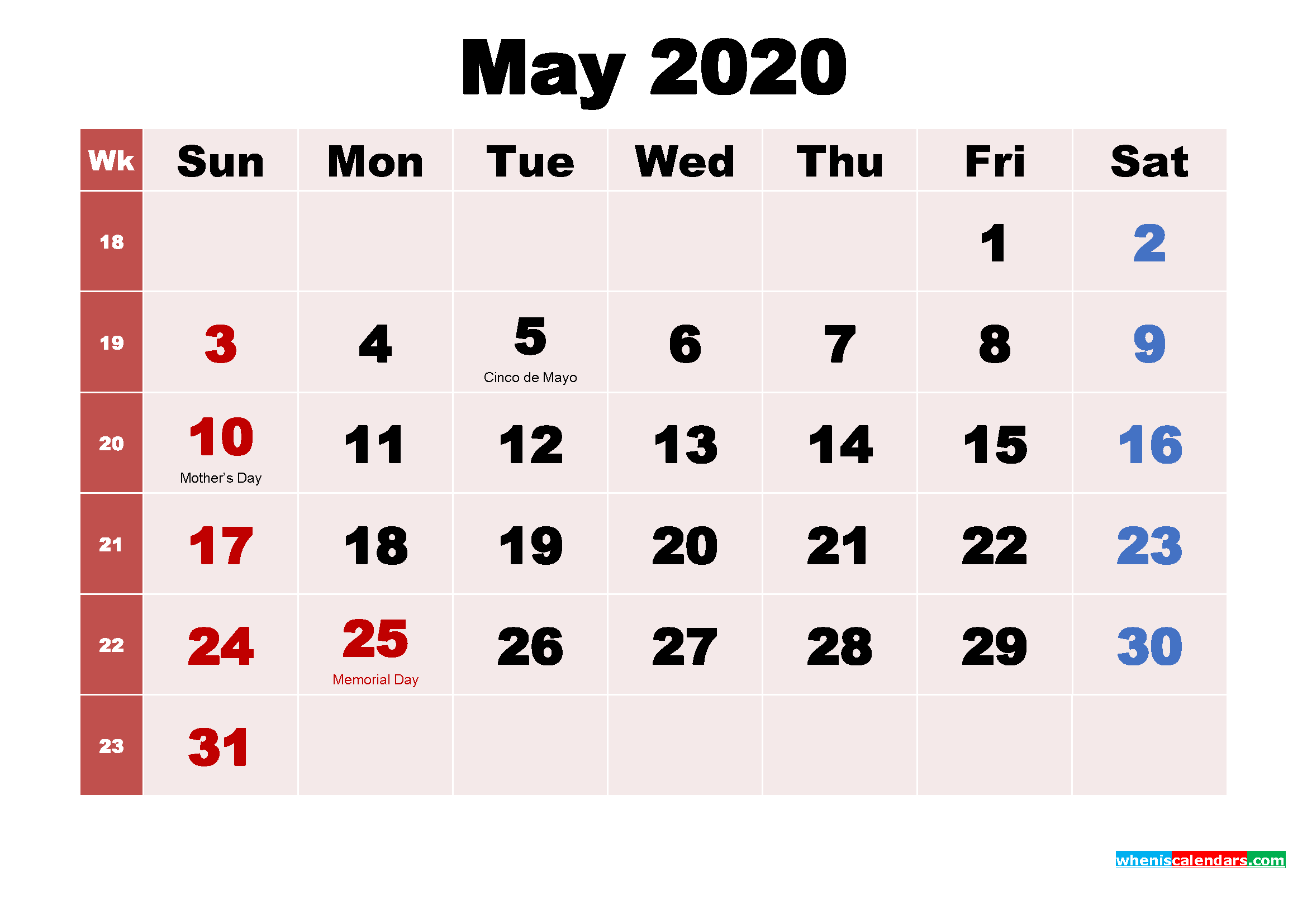 May 2020 Desktop Calendar Monthly