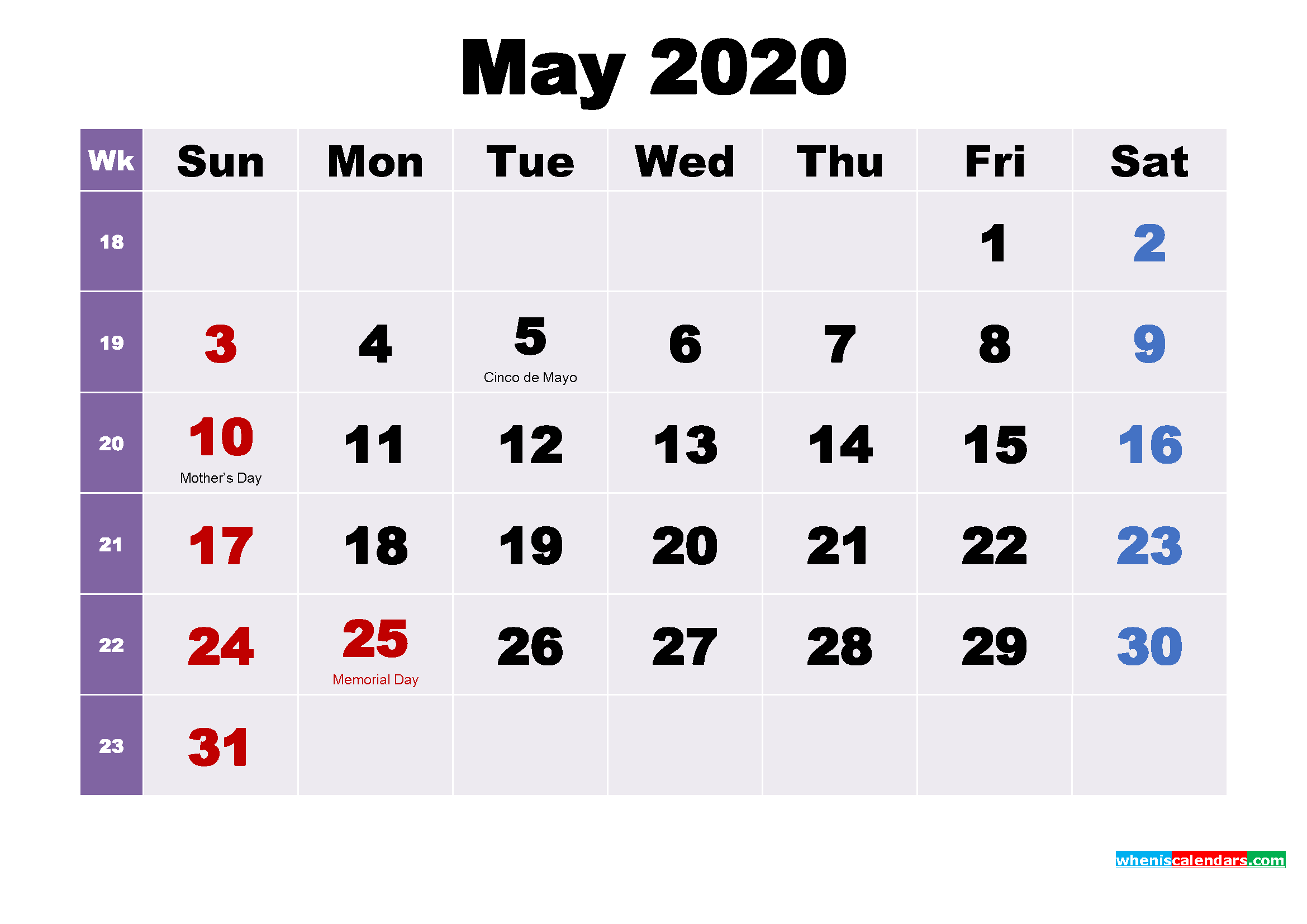May 2020 Desktop Calendar Free Download