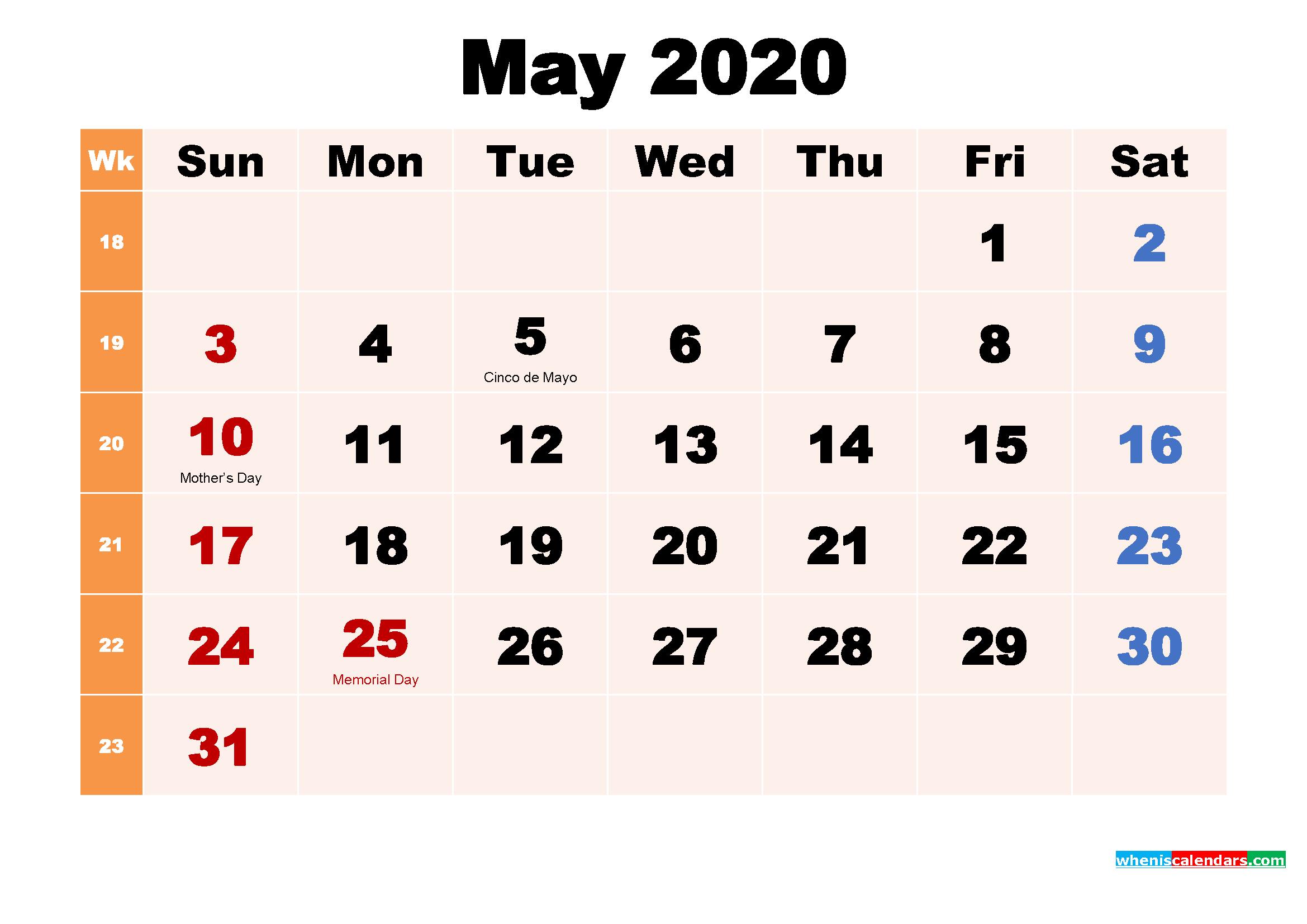 Free Printable 2020 Calendar with Holidays May