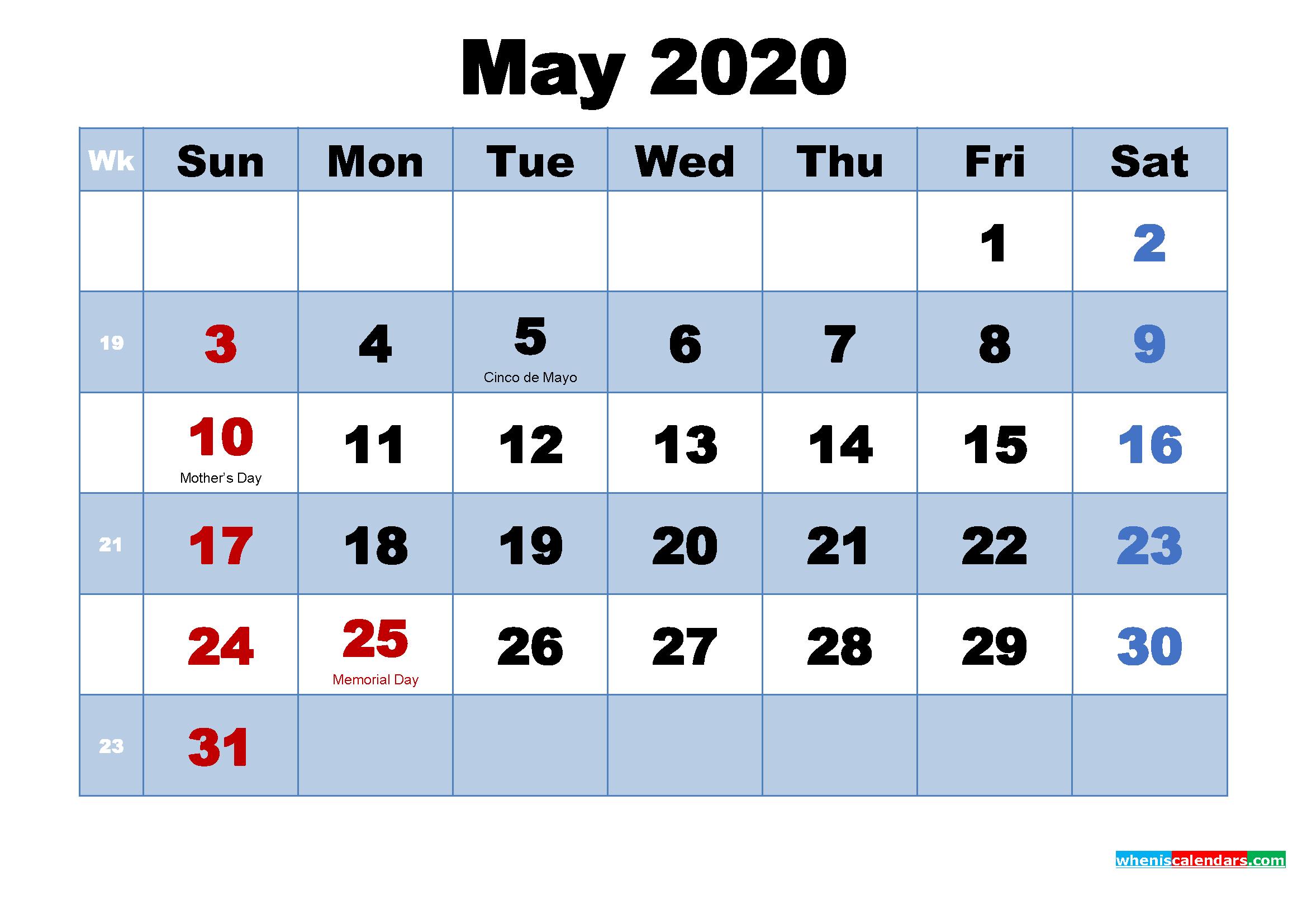 May 2020 Desktop Calendar Monthly