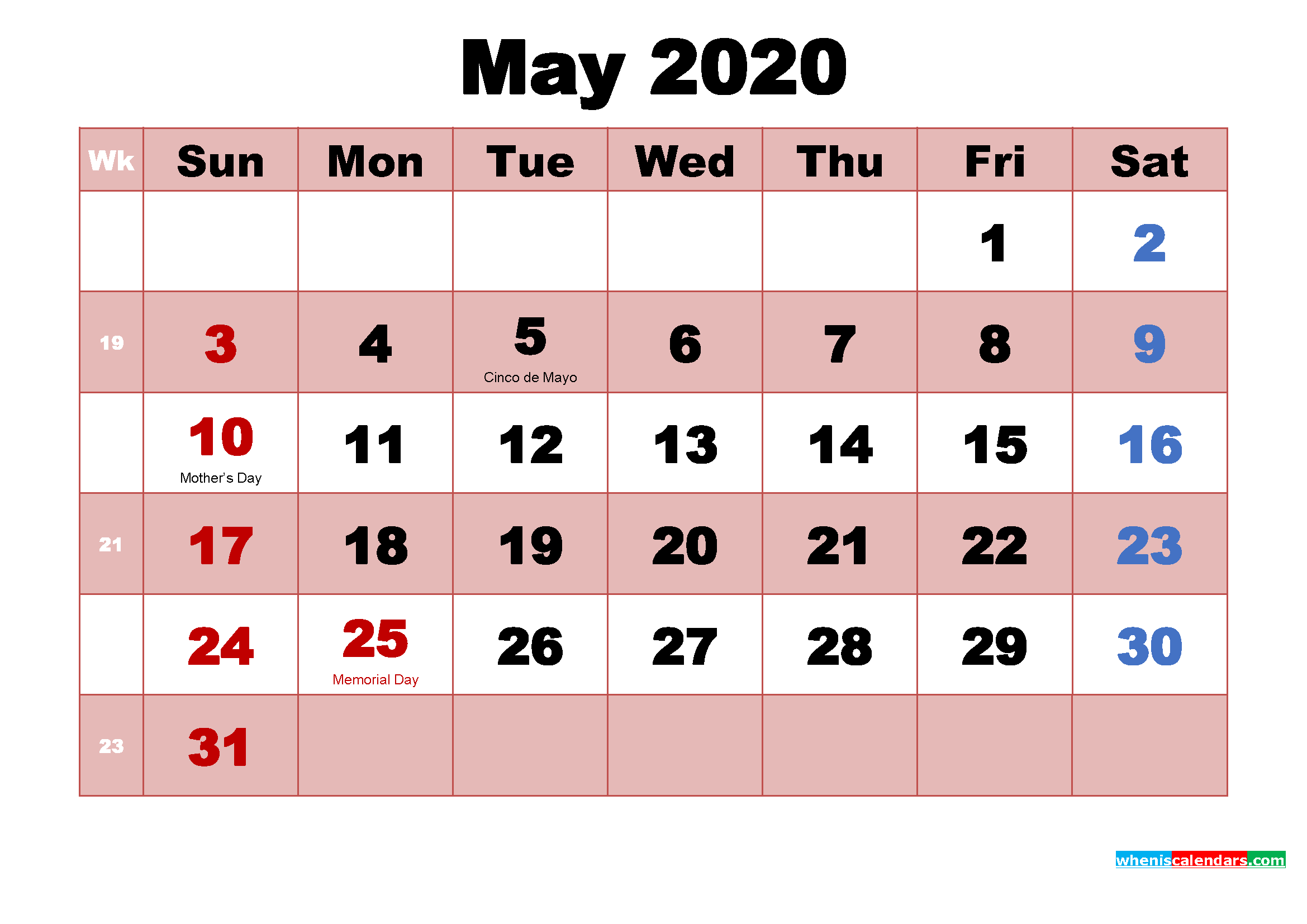 May 2020 Printable Monthly Calendar with Holidays