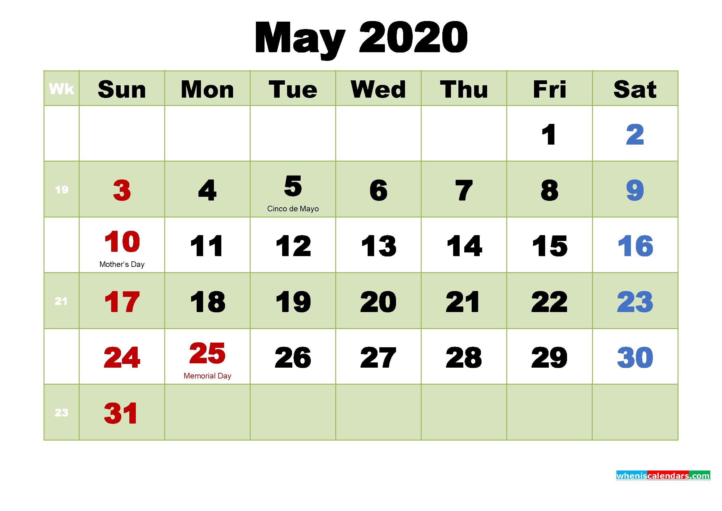 Printable Calendar for May 2020