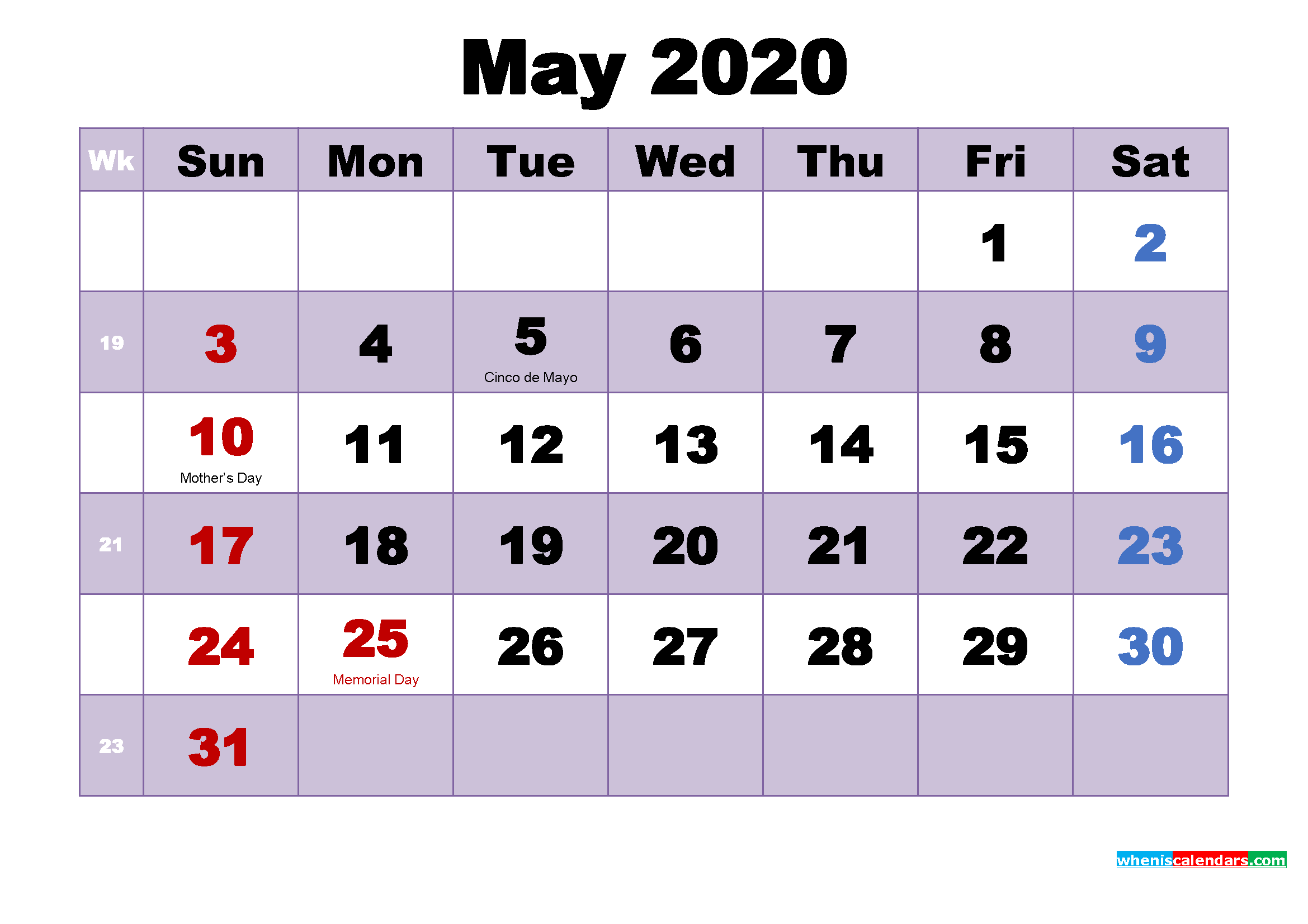 Free Printable May 2020 Calendar Word