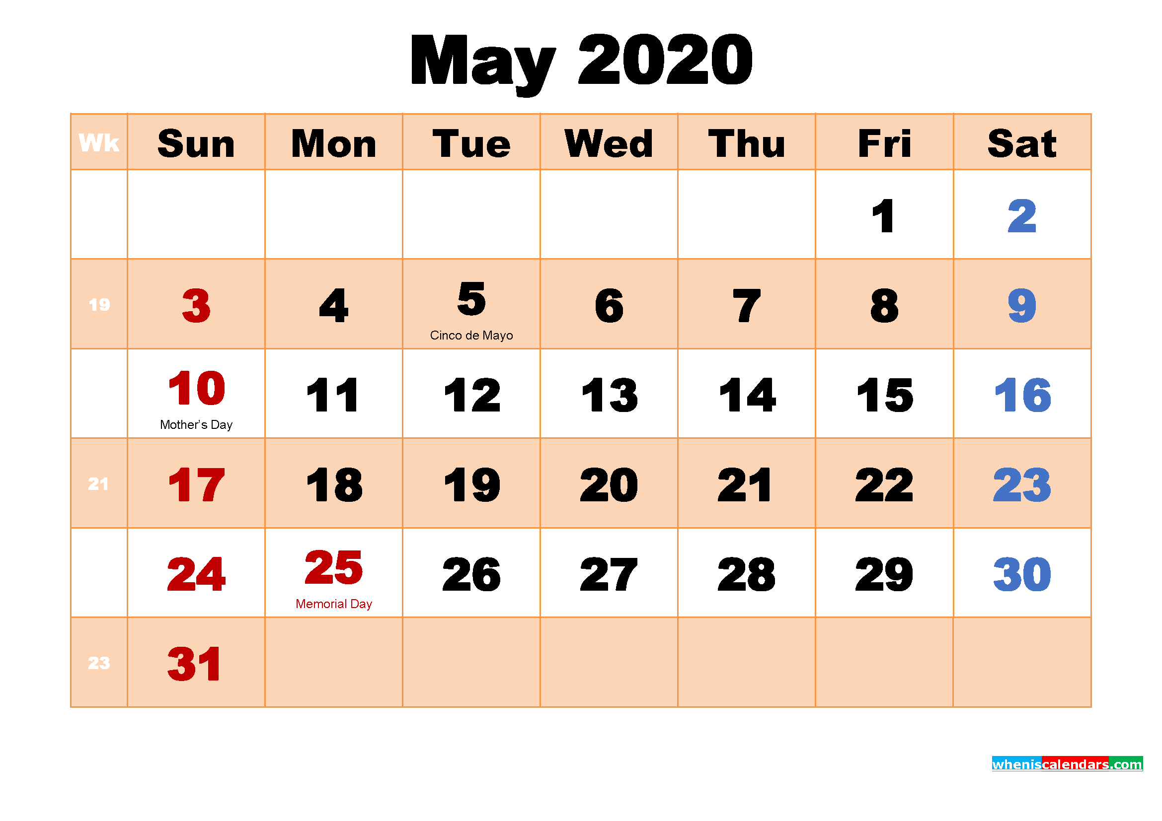 May 2020 Calendar with Holidays Wallpaper