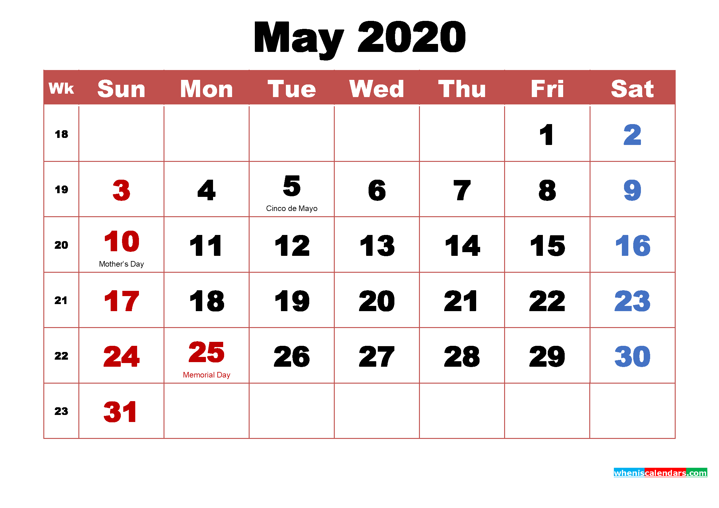 Printable 2020 Calendar with Holidays May
