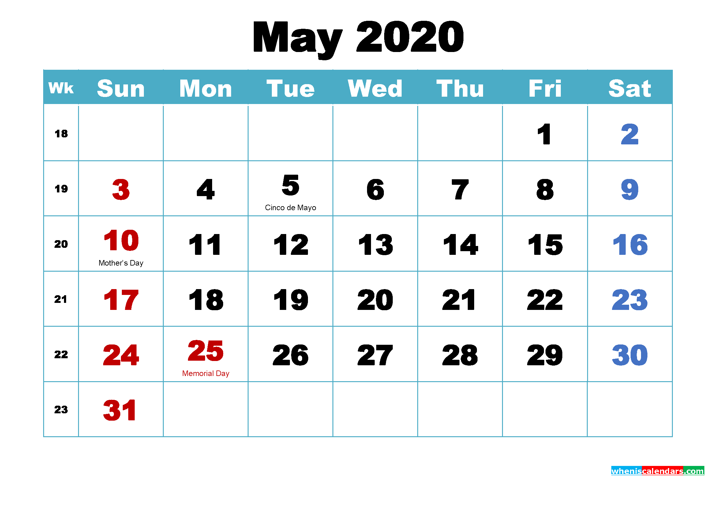 Printable May 2020 Calendar by Month