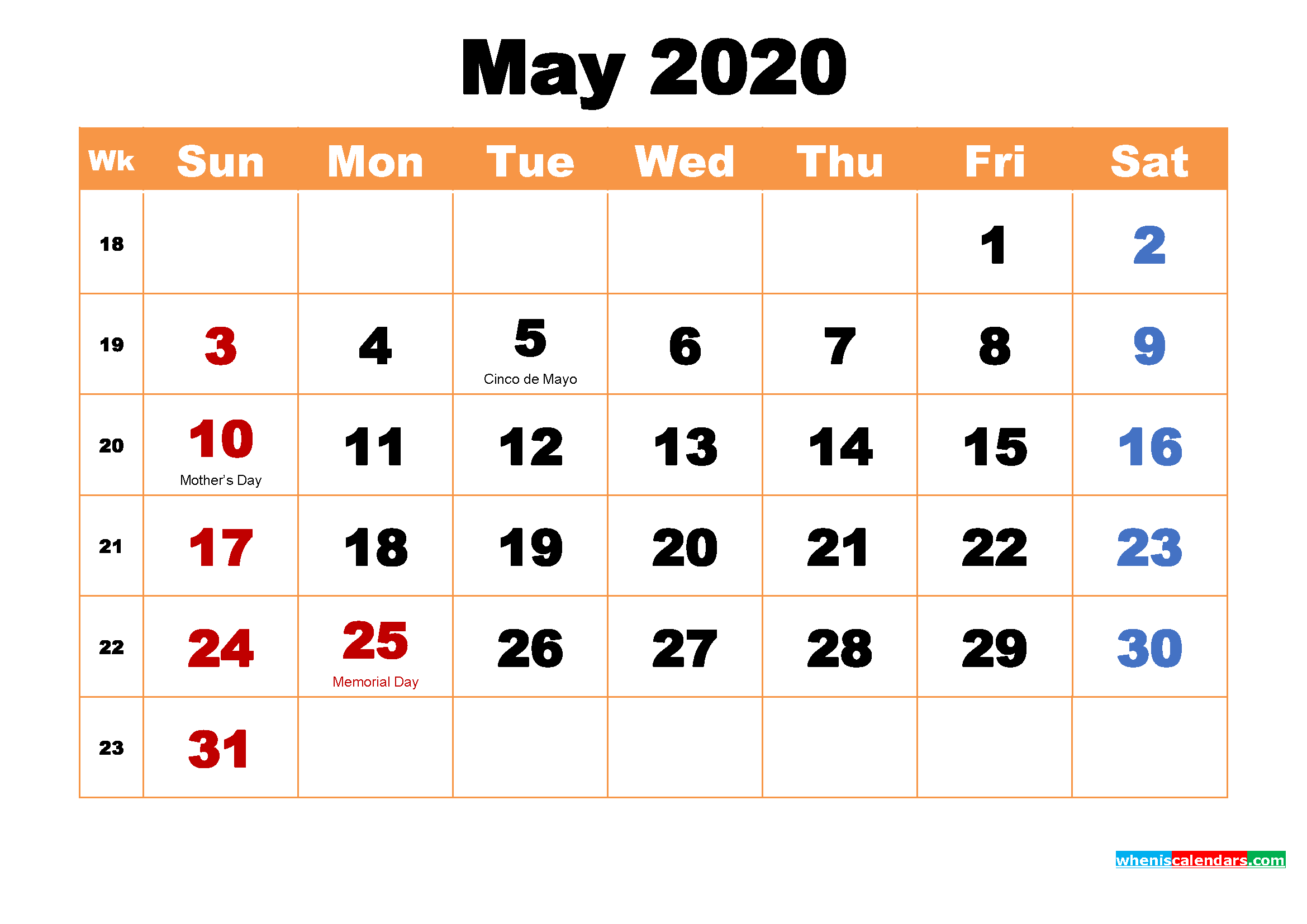 Printable 2020 Calendar by Month May