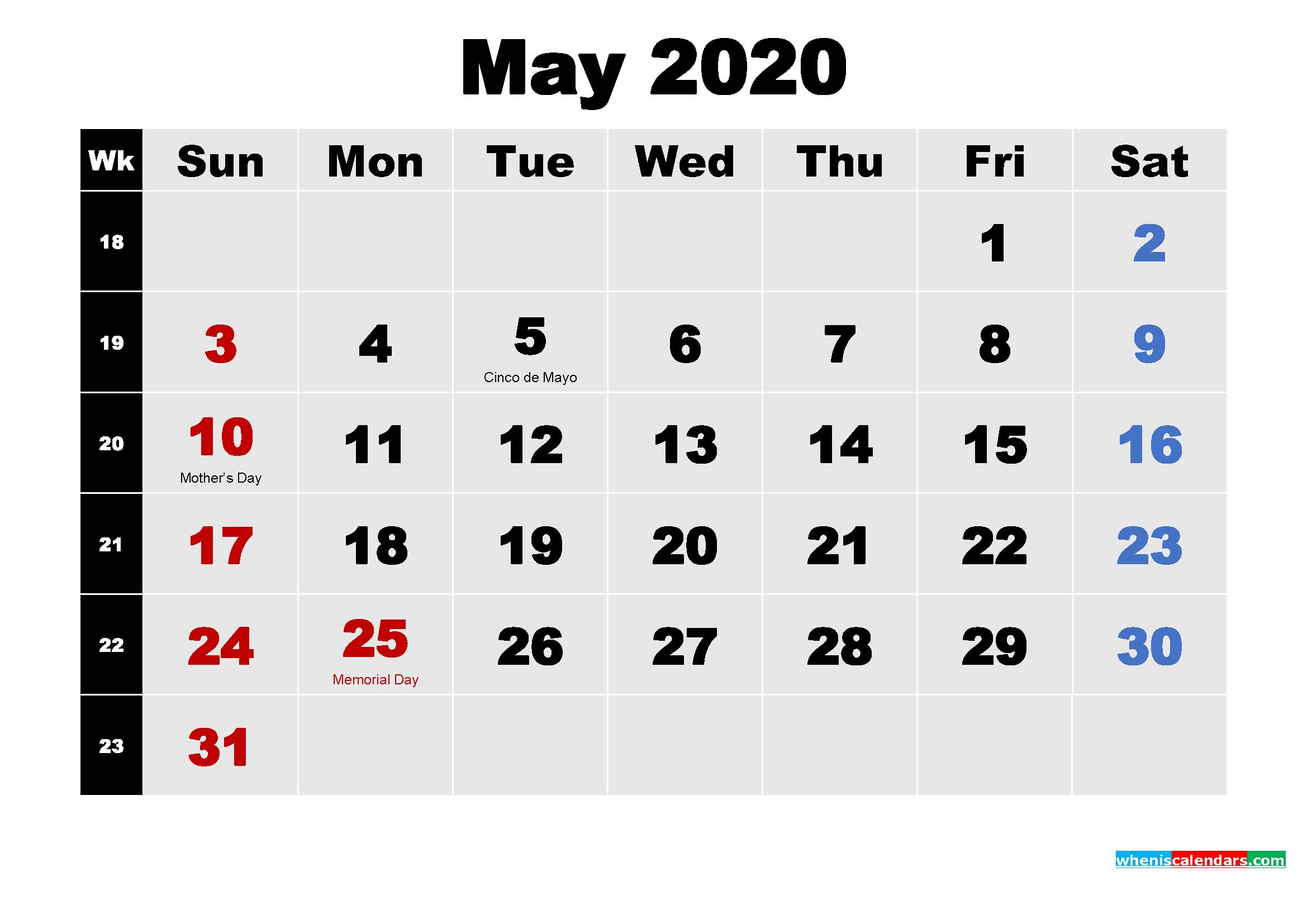 Printable 2020 Calendar with Holidays May