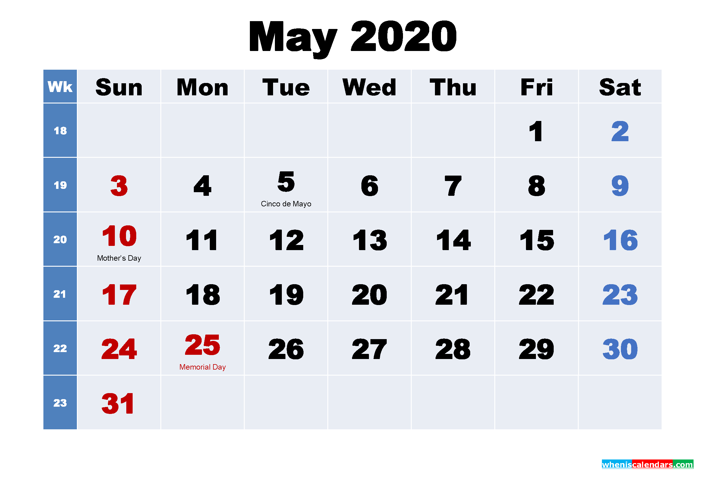 May 2020 Desktop Calendar with Holidays