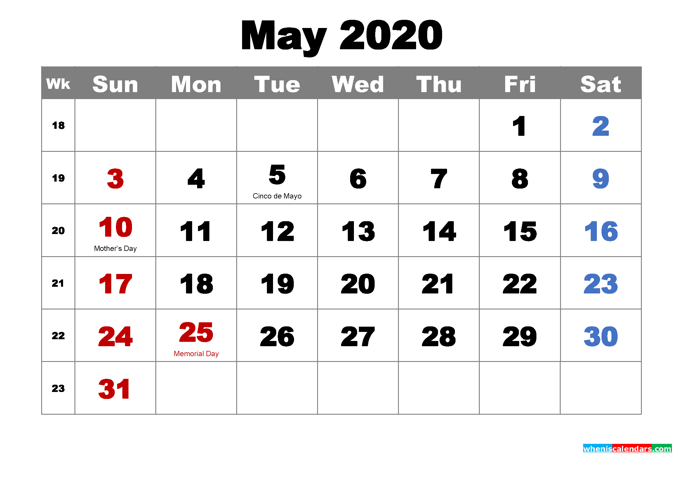 Free May 2020 Desktop Calendar High Resolution