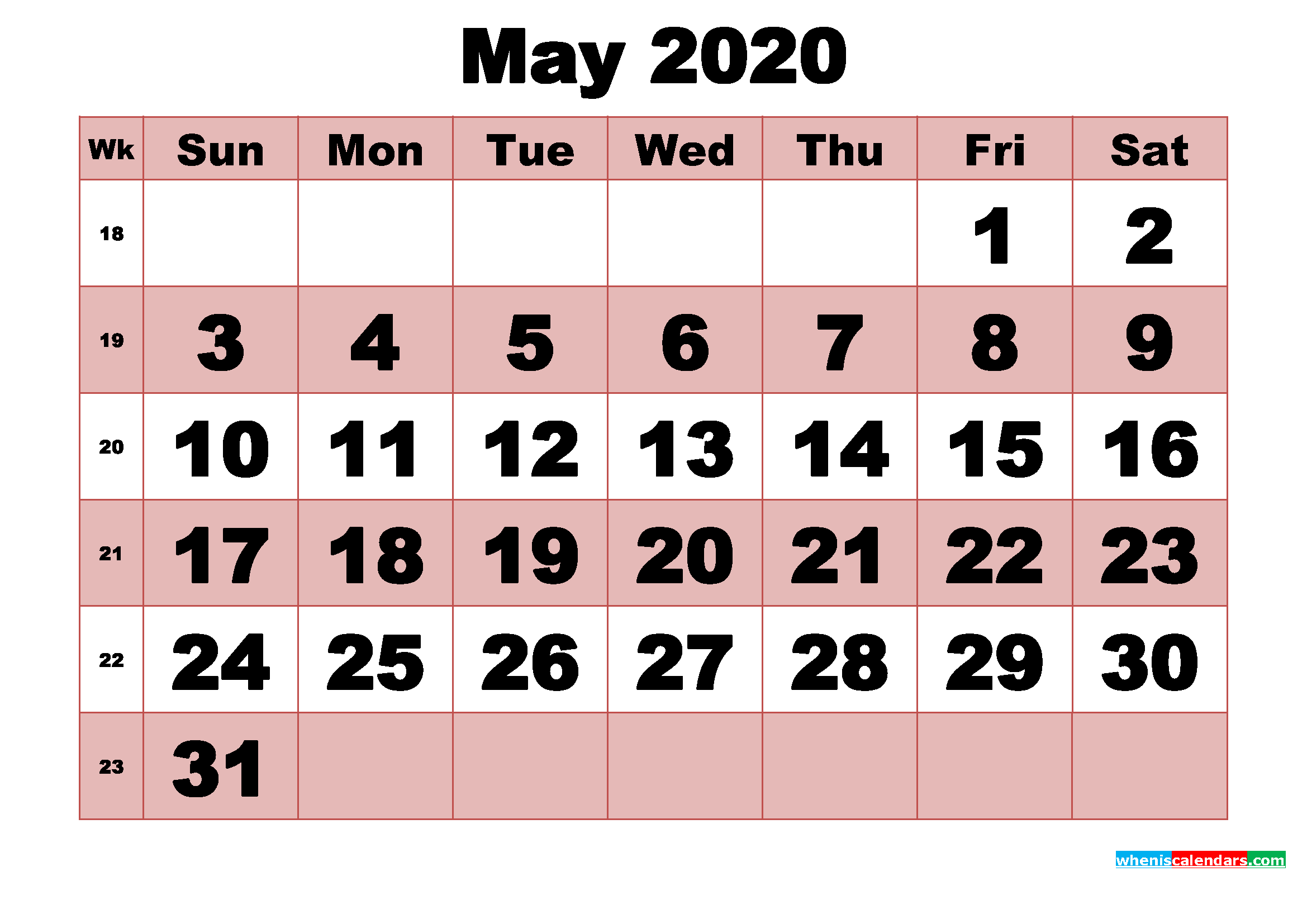 Free Printable Monthly Calendar May 2020