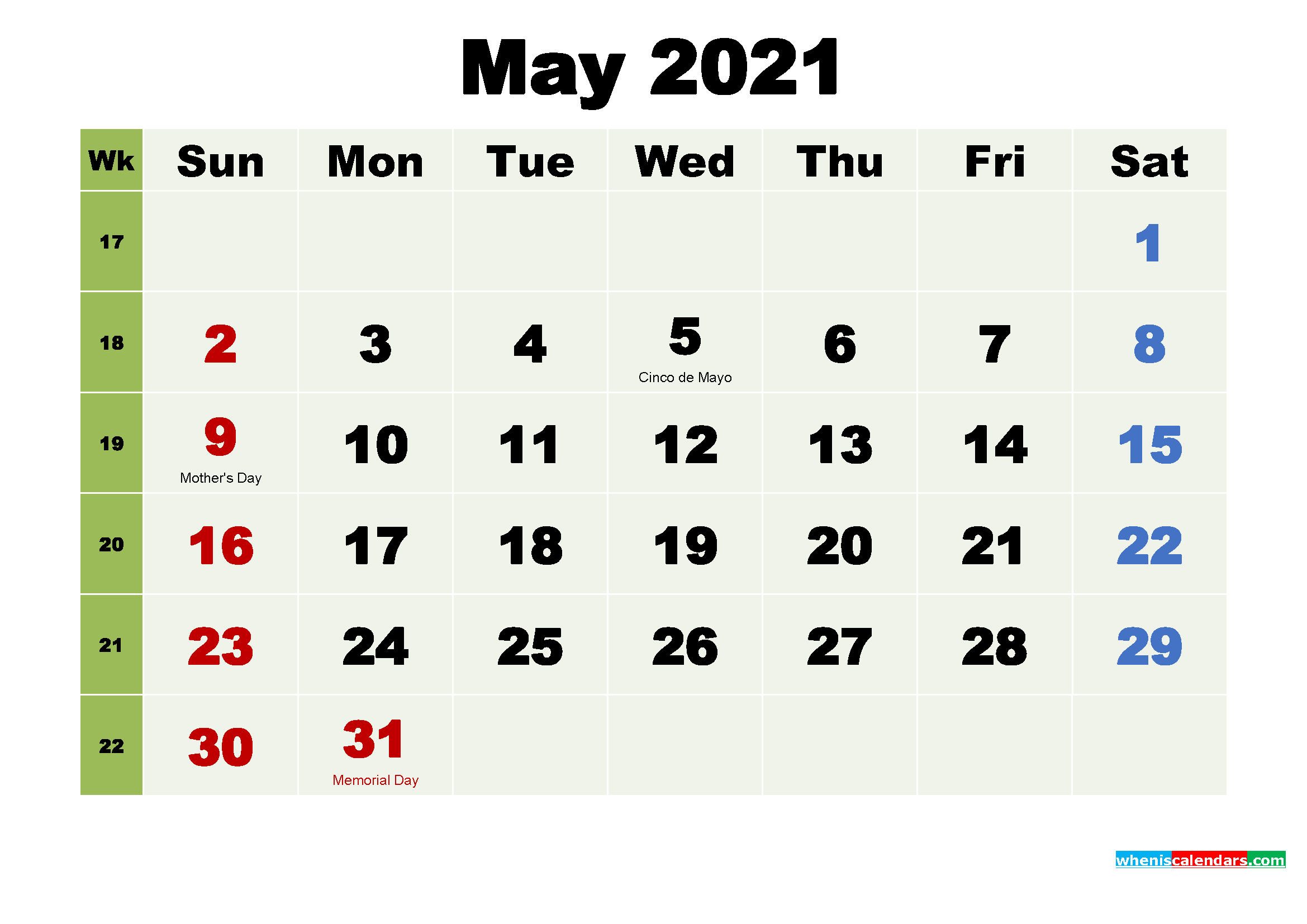 Printable May 2021 Calendar by Month