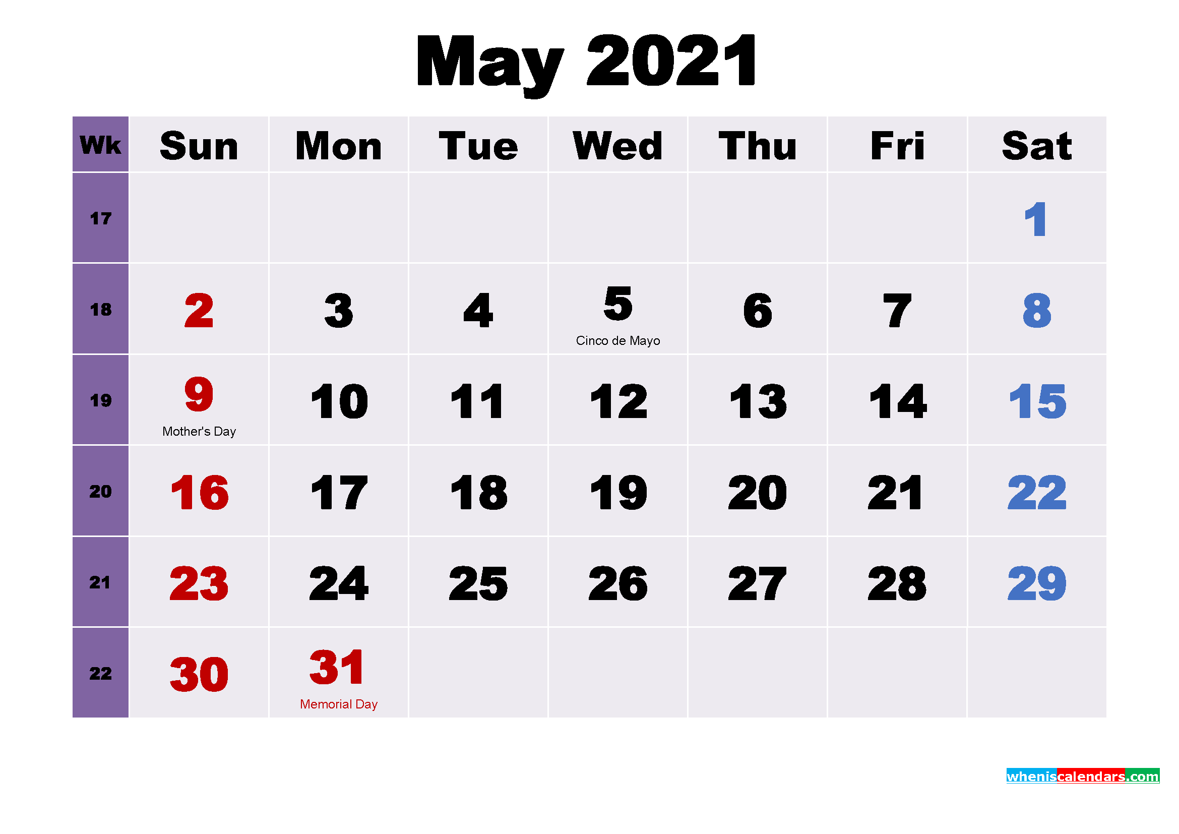 Printable 2021 Calendar by Month May