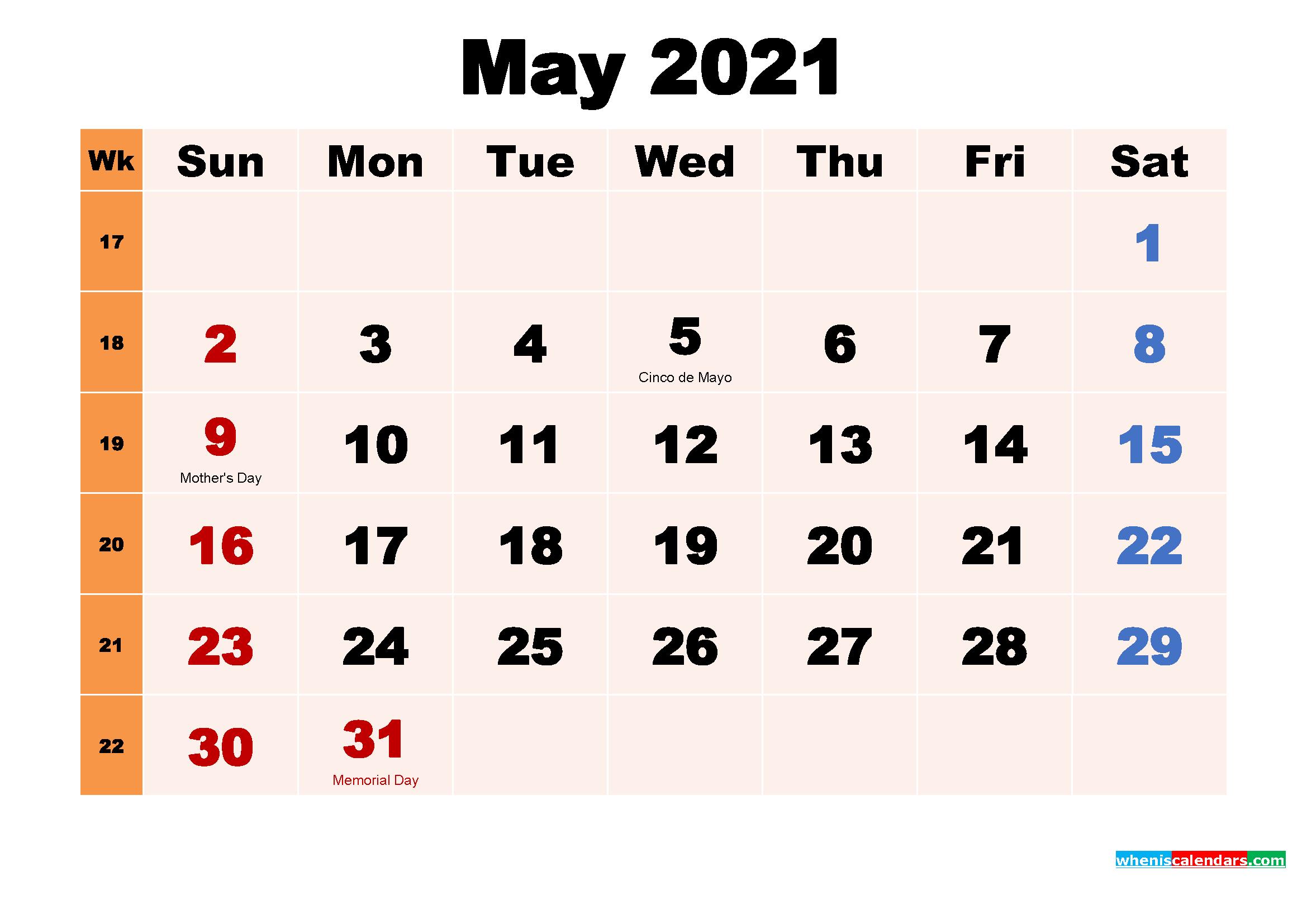 Free Printable 2021 Calendar with Holidays May