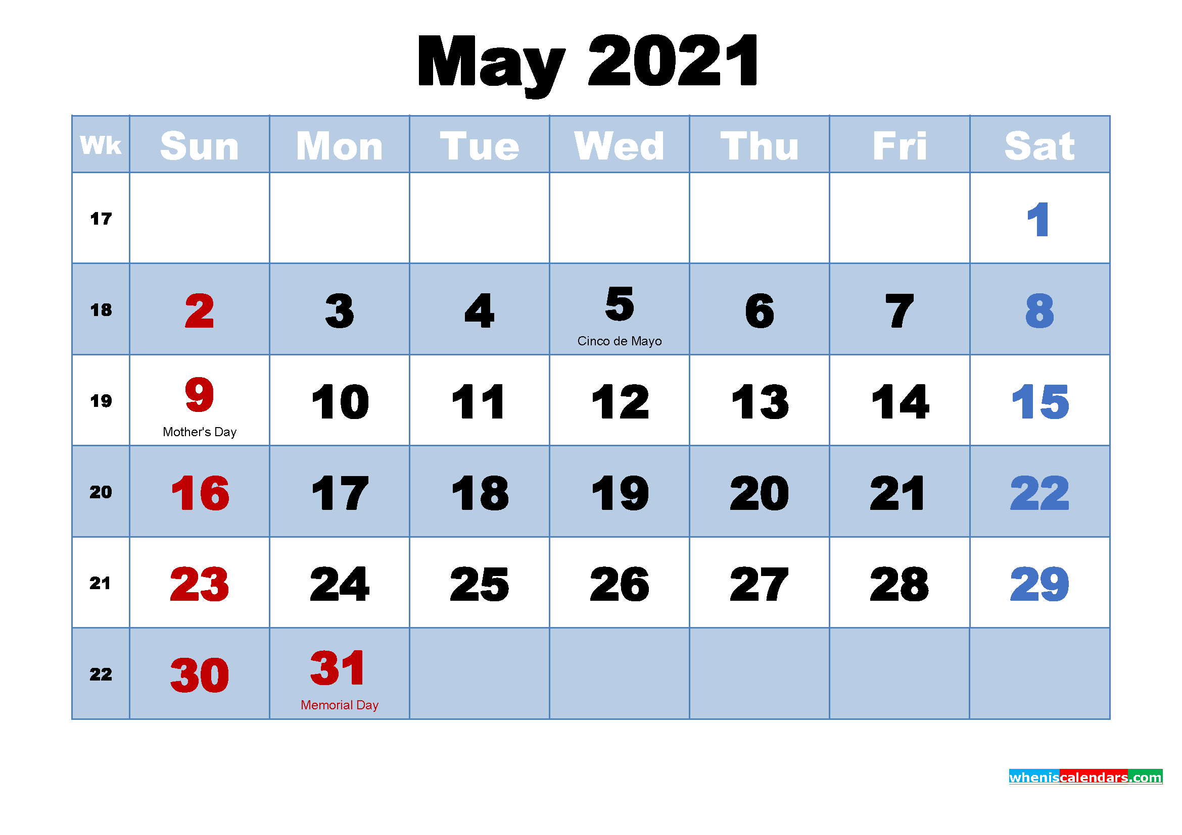 Free Printable 2021 Monthly Calendar with Holidays May