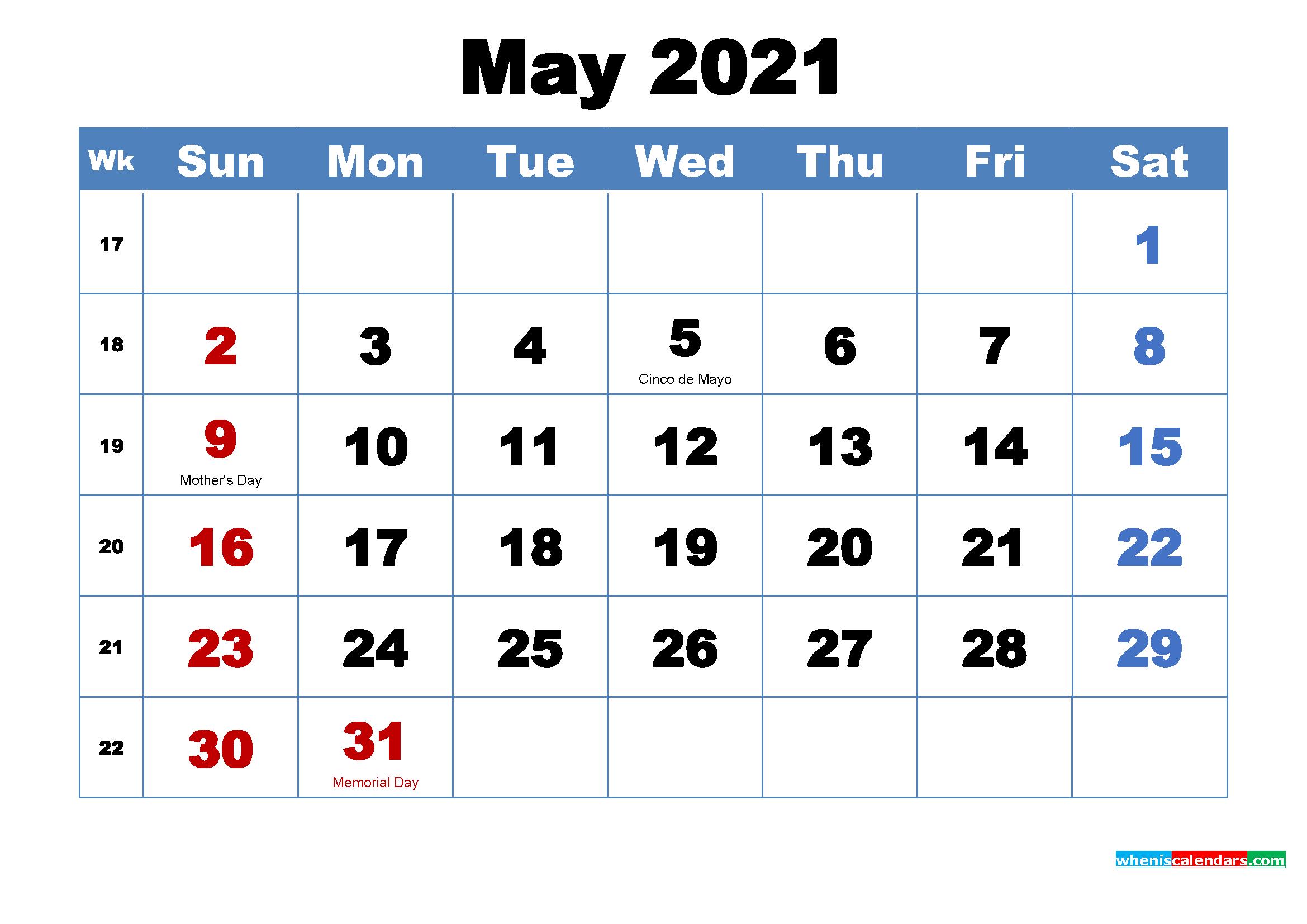 May 2021 Calendar Wallpaper Free Download