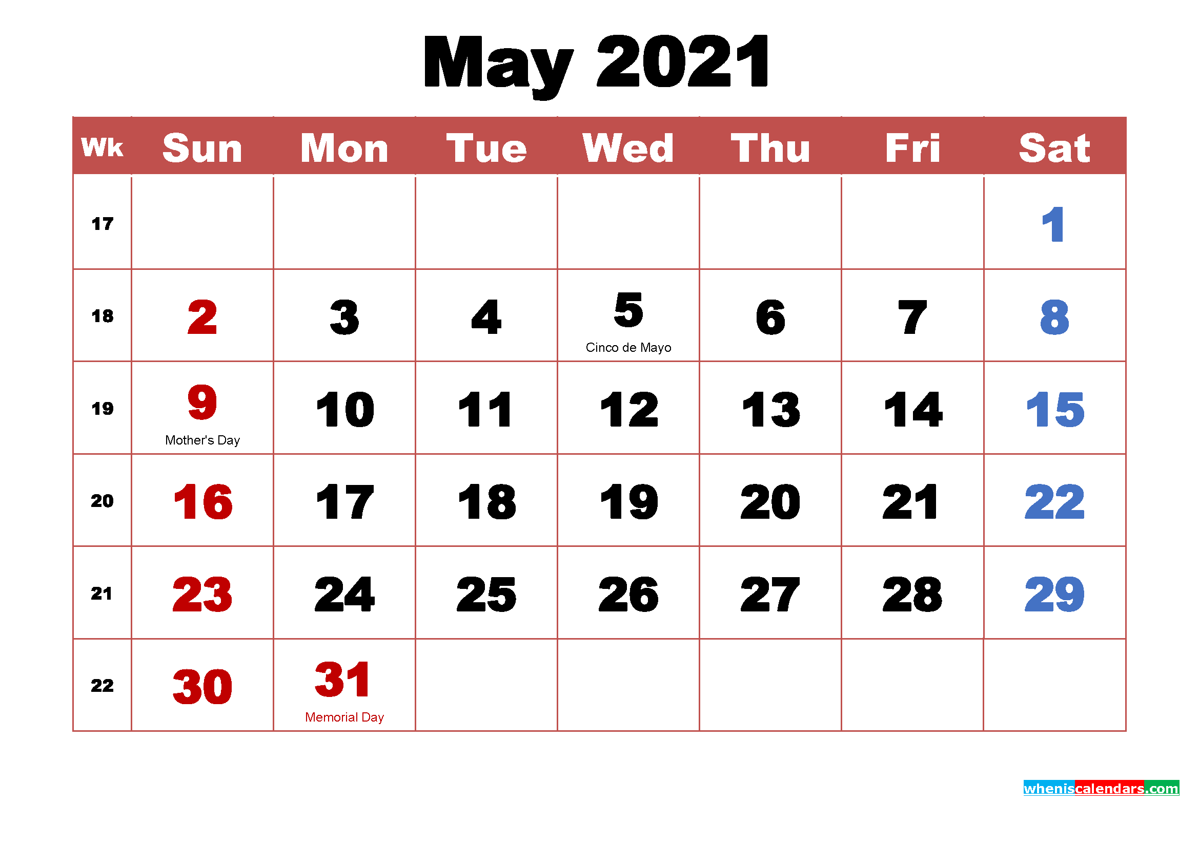 May 2021 Calendar with Holidays Printable