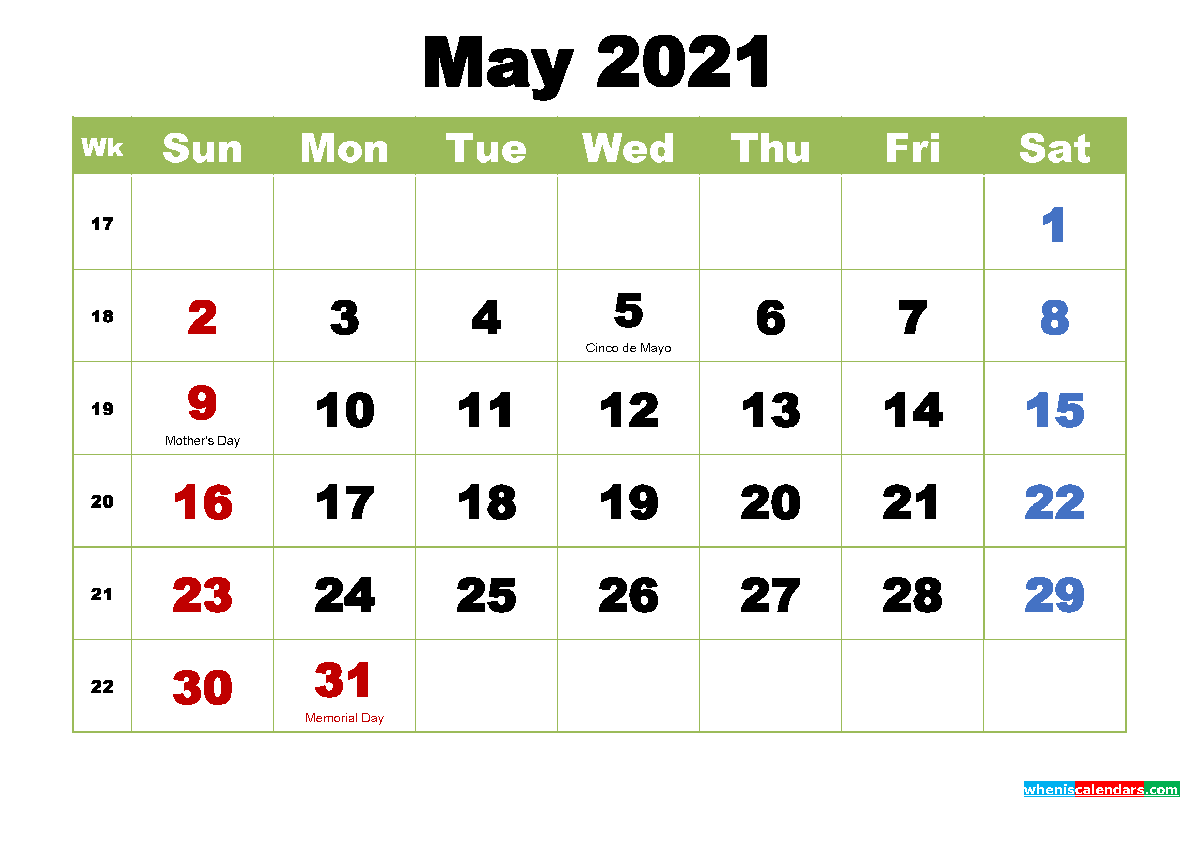 May 2021 Calendar with Holidays Wallpaper
