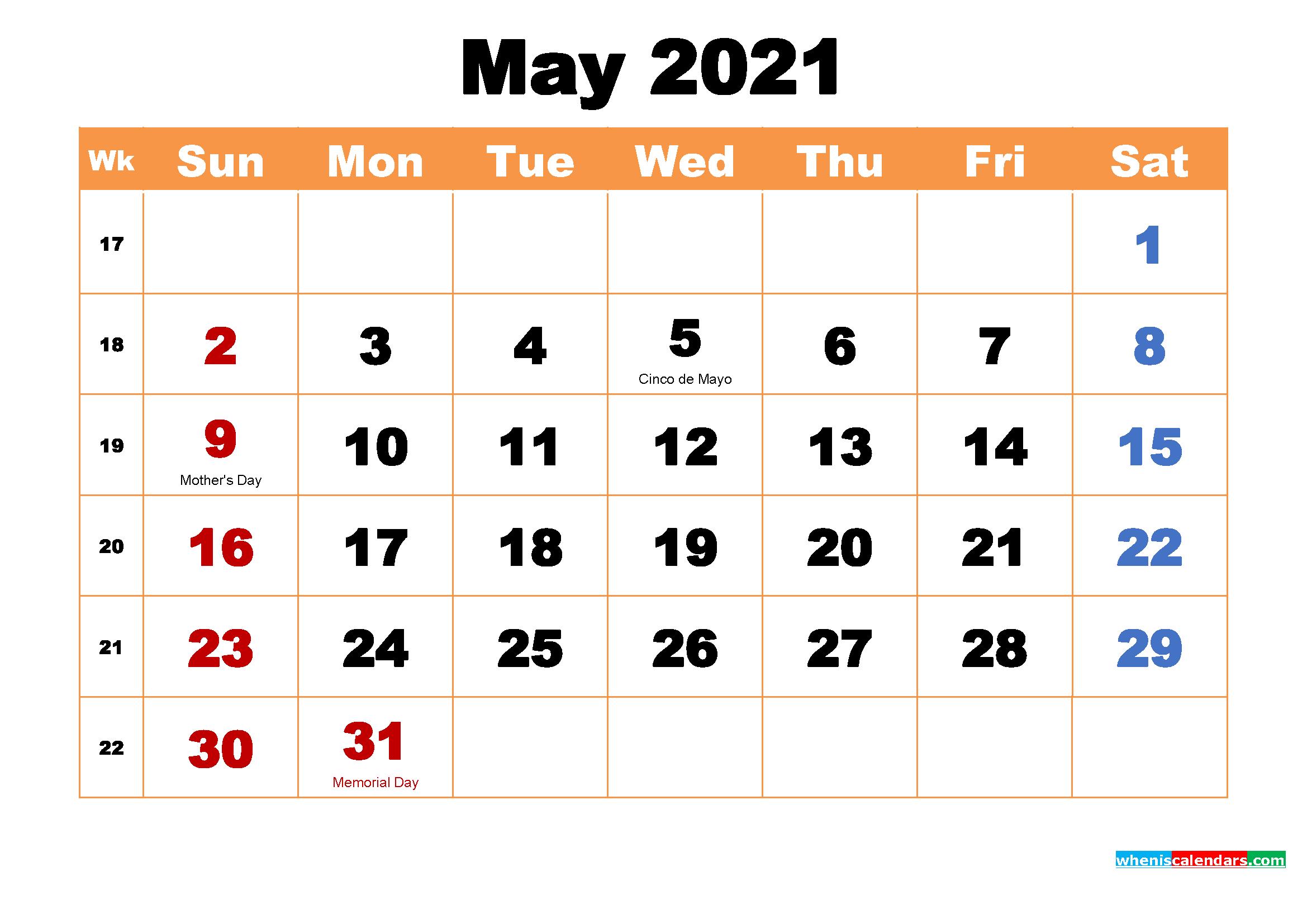 May 2021 Desktop Calendar Free Download