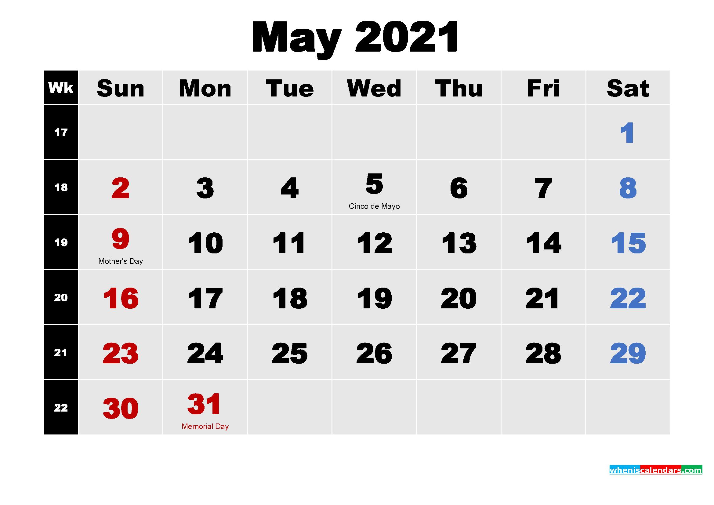 Free Printable May 2021 Calendar Word