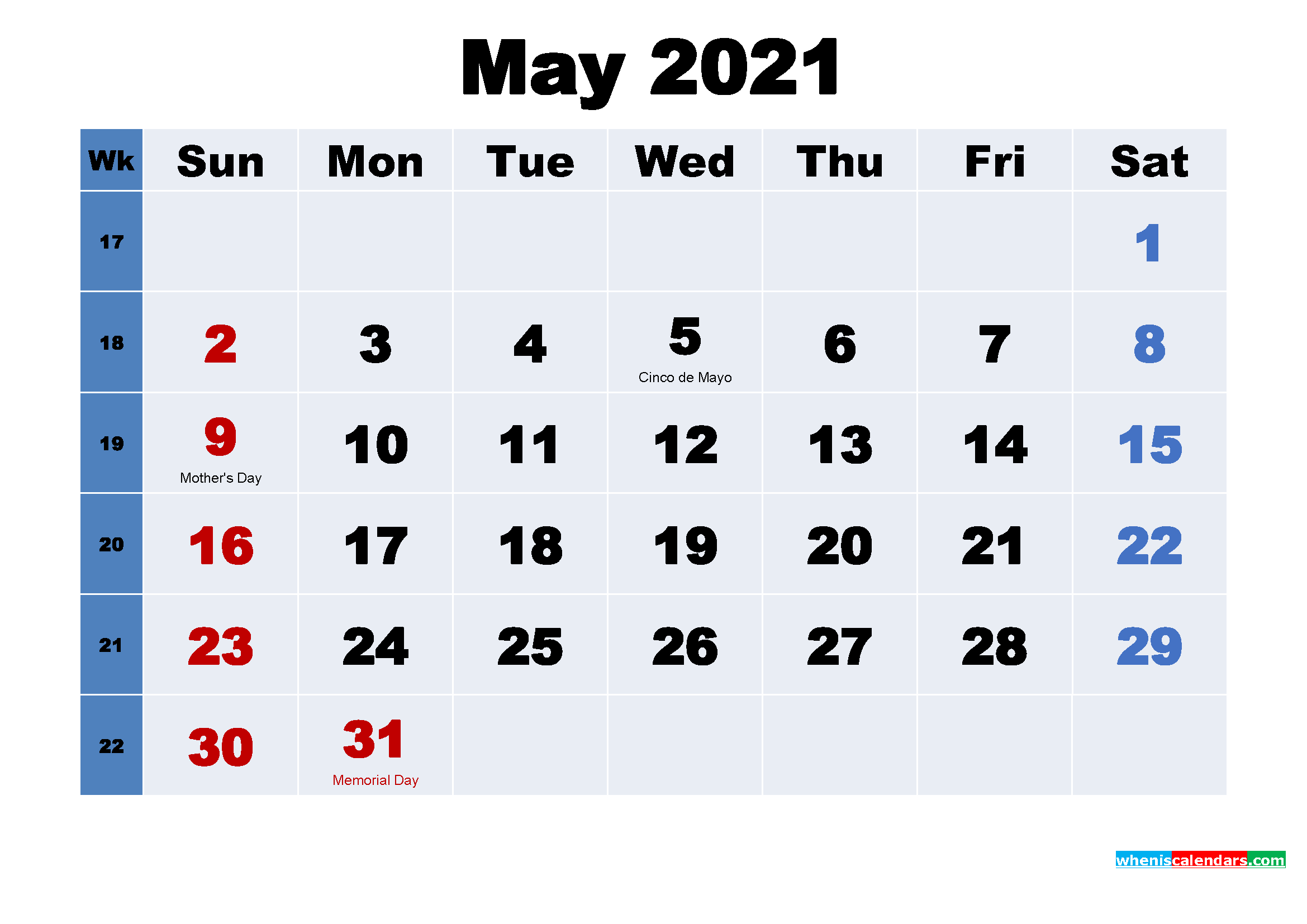 Free Printable May 2021 Calendar Wallpaper
